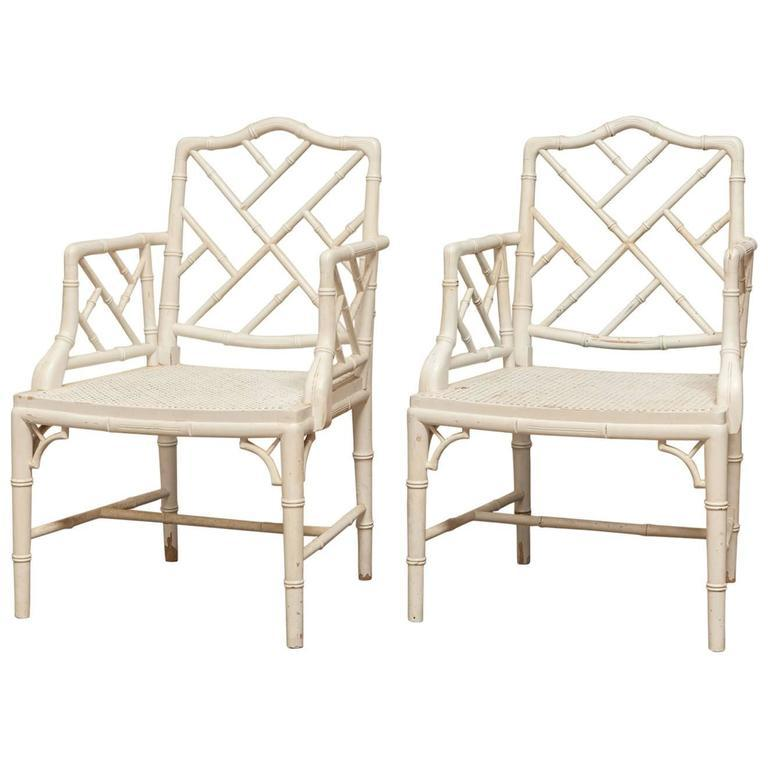 Chinese Chippendale Faux Bamboo Armchairs Pair Chairish