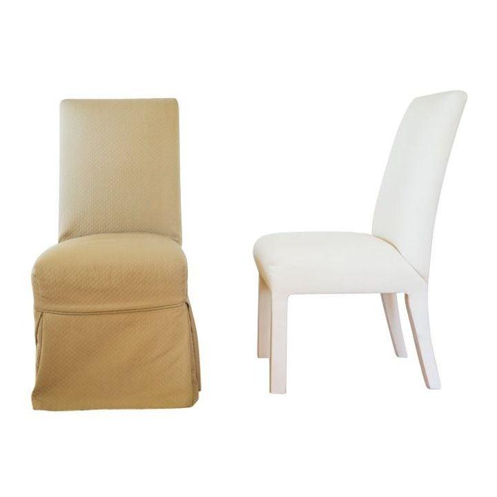 Quatrine Slipcovered Parsons Dining Chairs A Pair Chairish