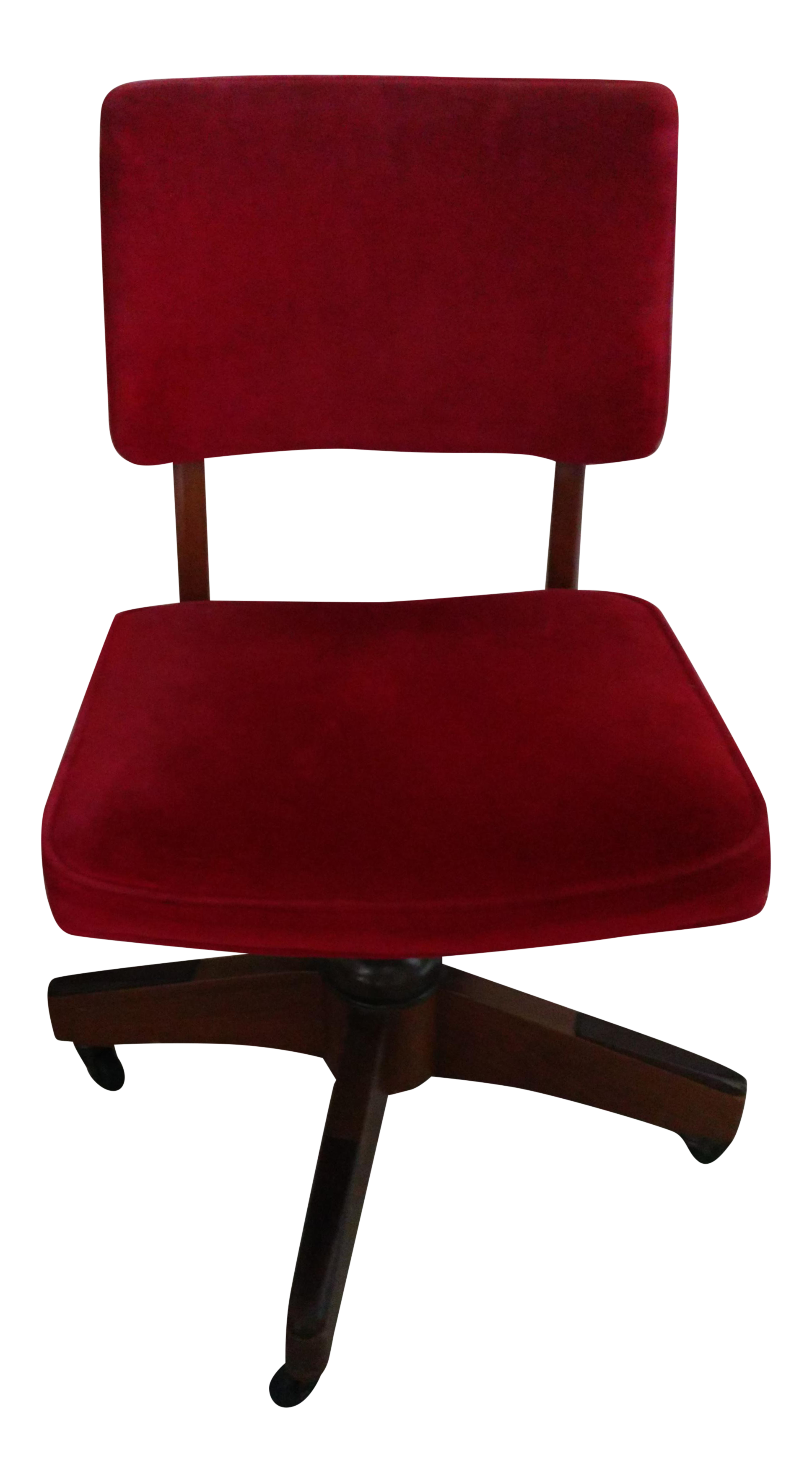 Antique Red Micro Fiber Upholstered Rolling Swivel Desk Chair