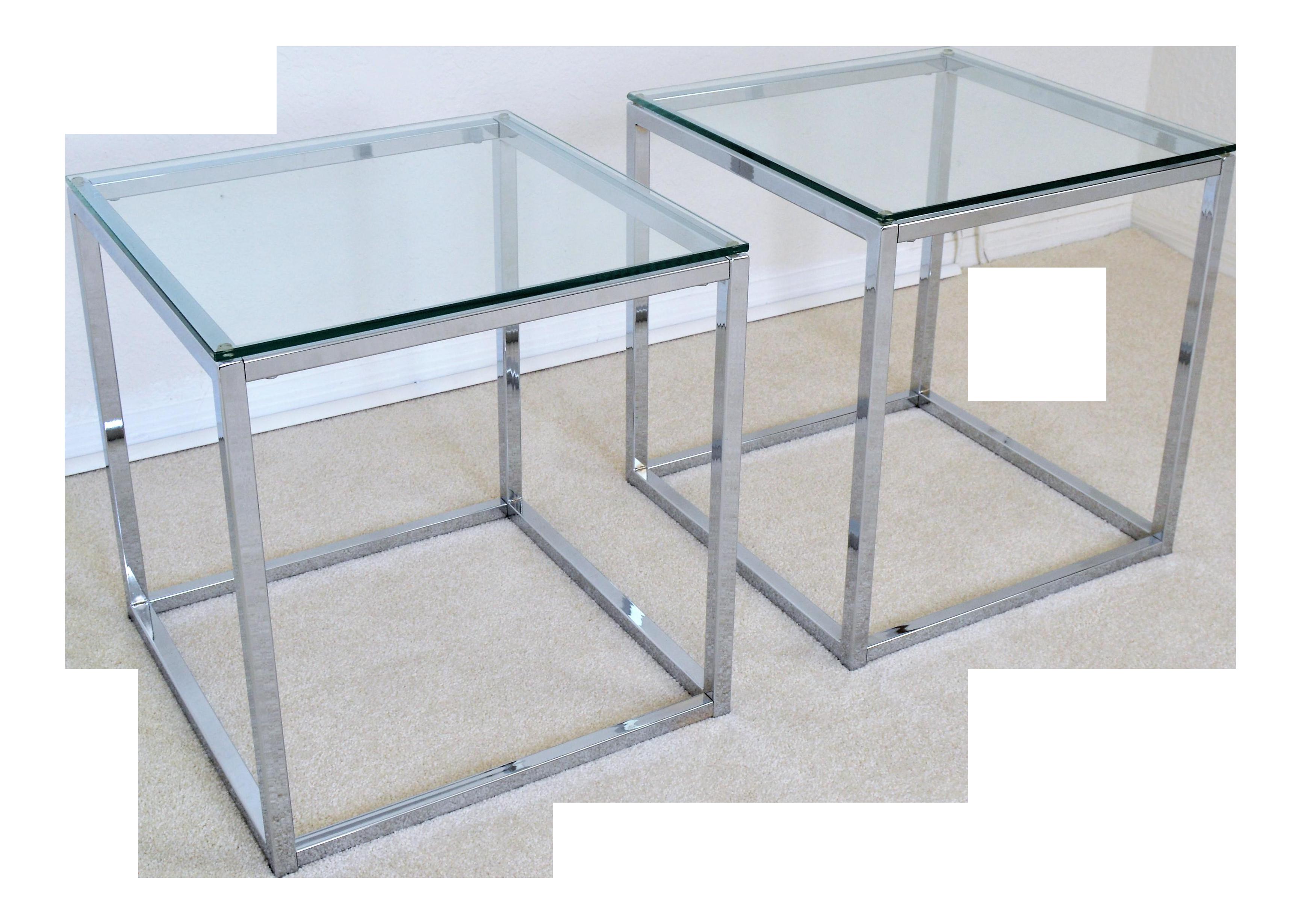 Milo Baughman Style Mid Century Modern Chrome & Glass Cube Side Tables - a  Pair Millennial | Chairish