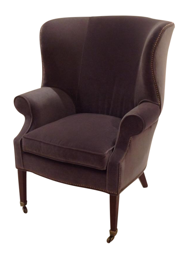 Lillian August Preston Gray Velvet Wing Chair Chairish
