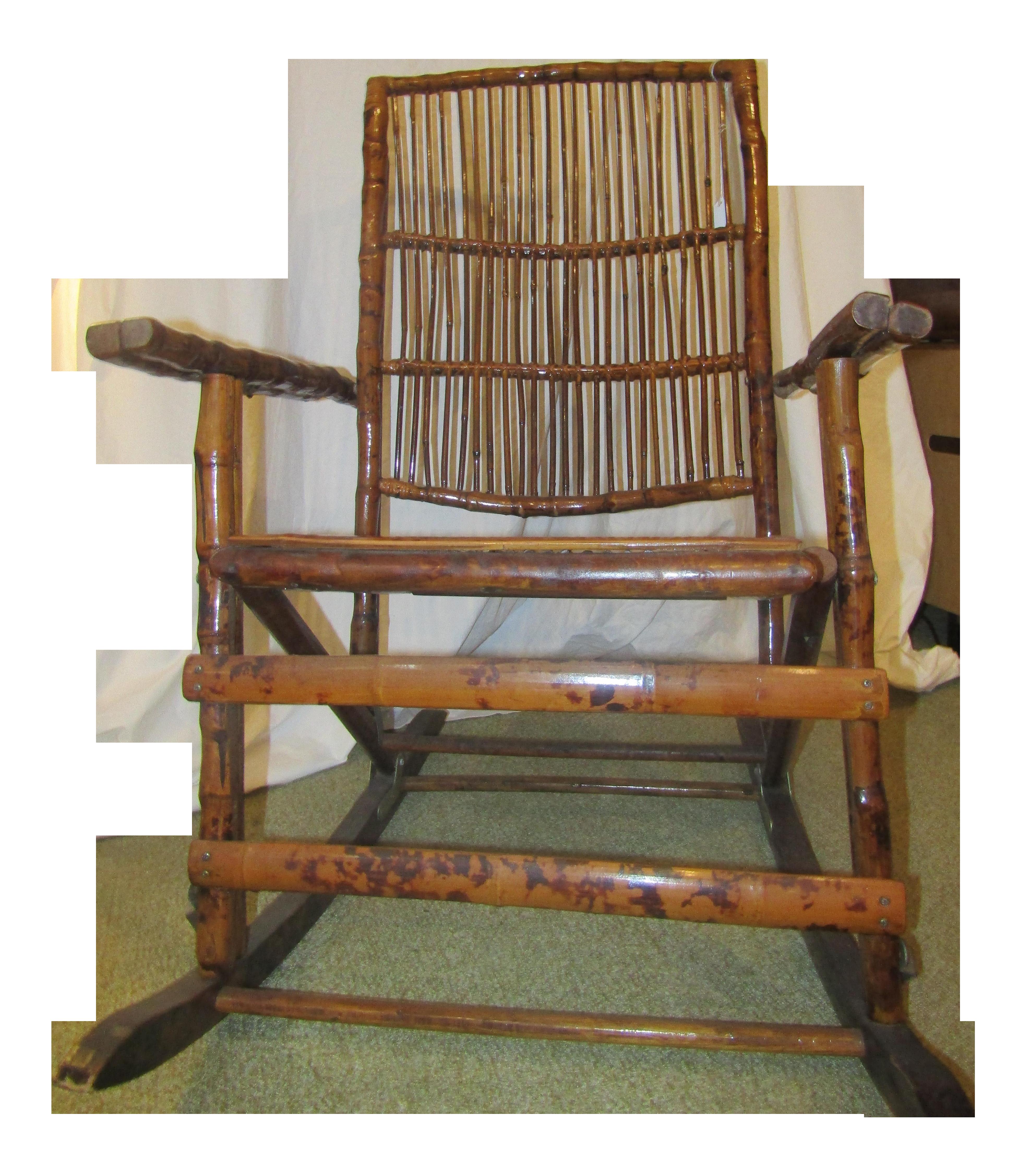 Vintage Bamboo Folding Rocking Chair