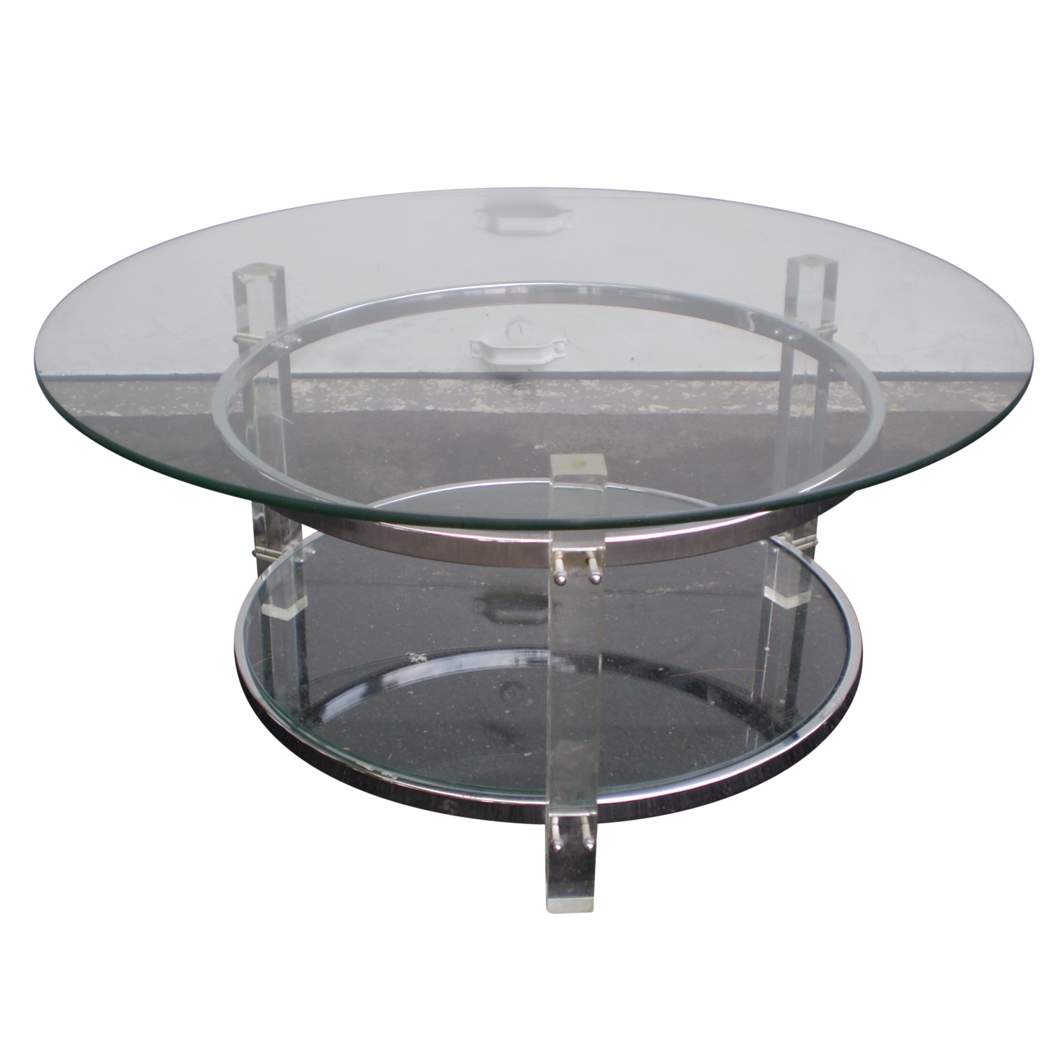 Mid-Century Two-Tier Lucite & Chrome Coffee Table