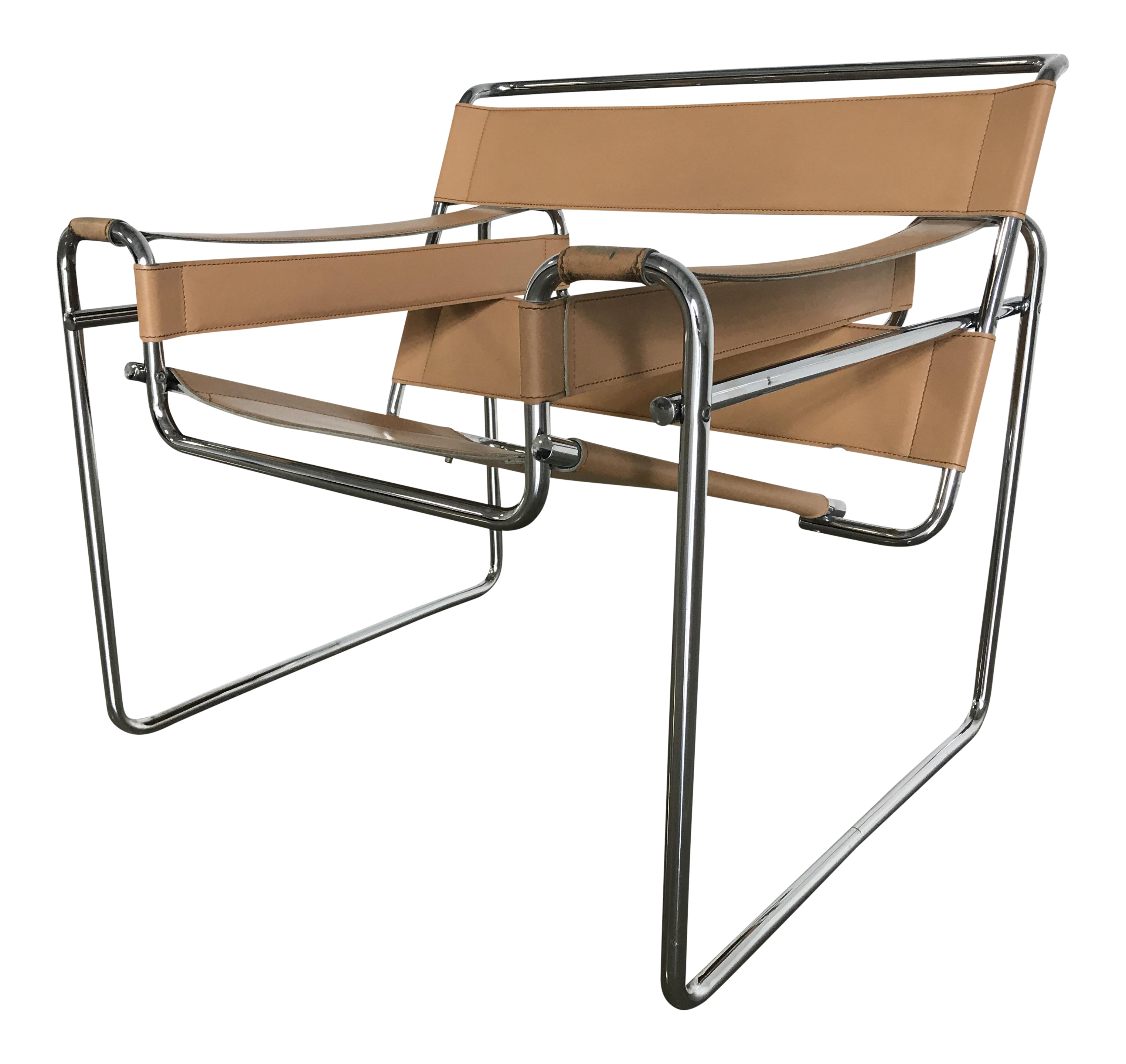 Vintage Marcel Breuer Tan Leather Wassily Chair
