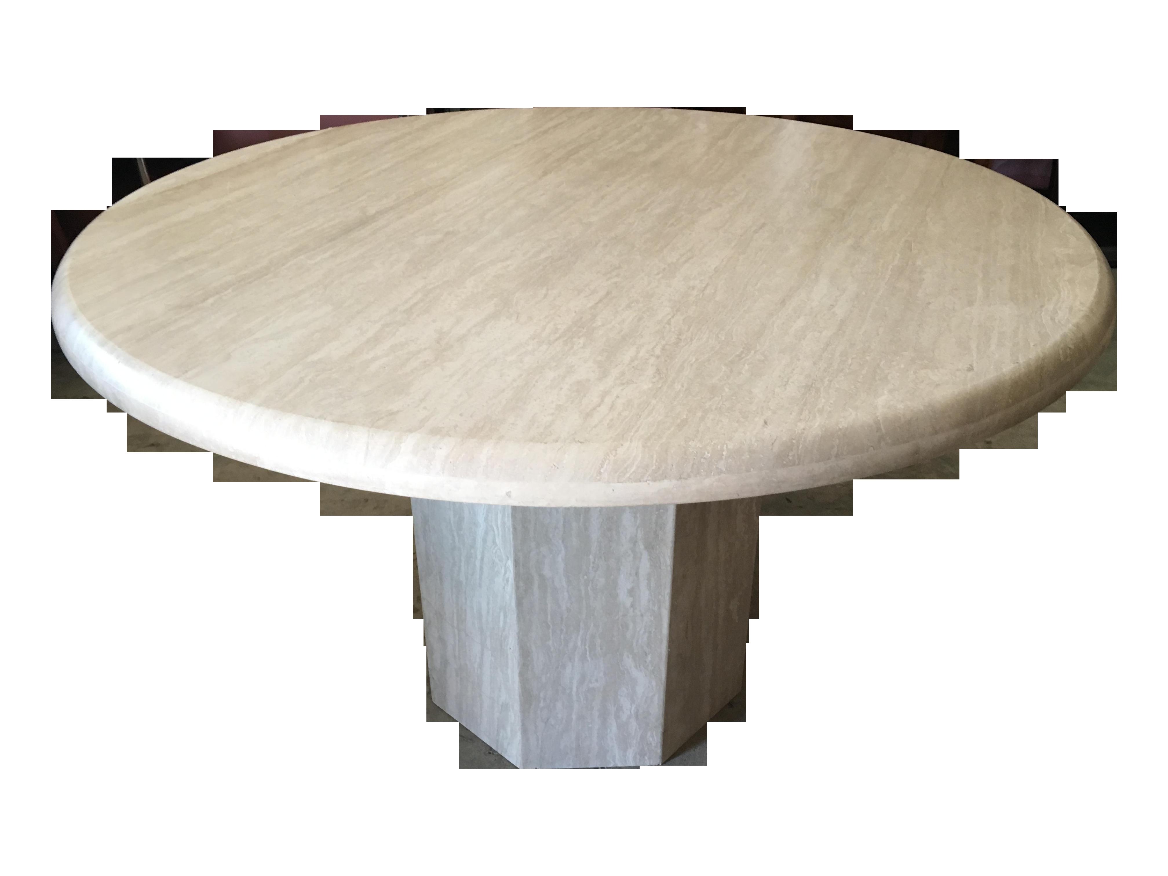 Round Italian Solid Travertine Dining Table Chairish