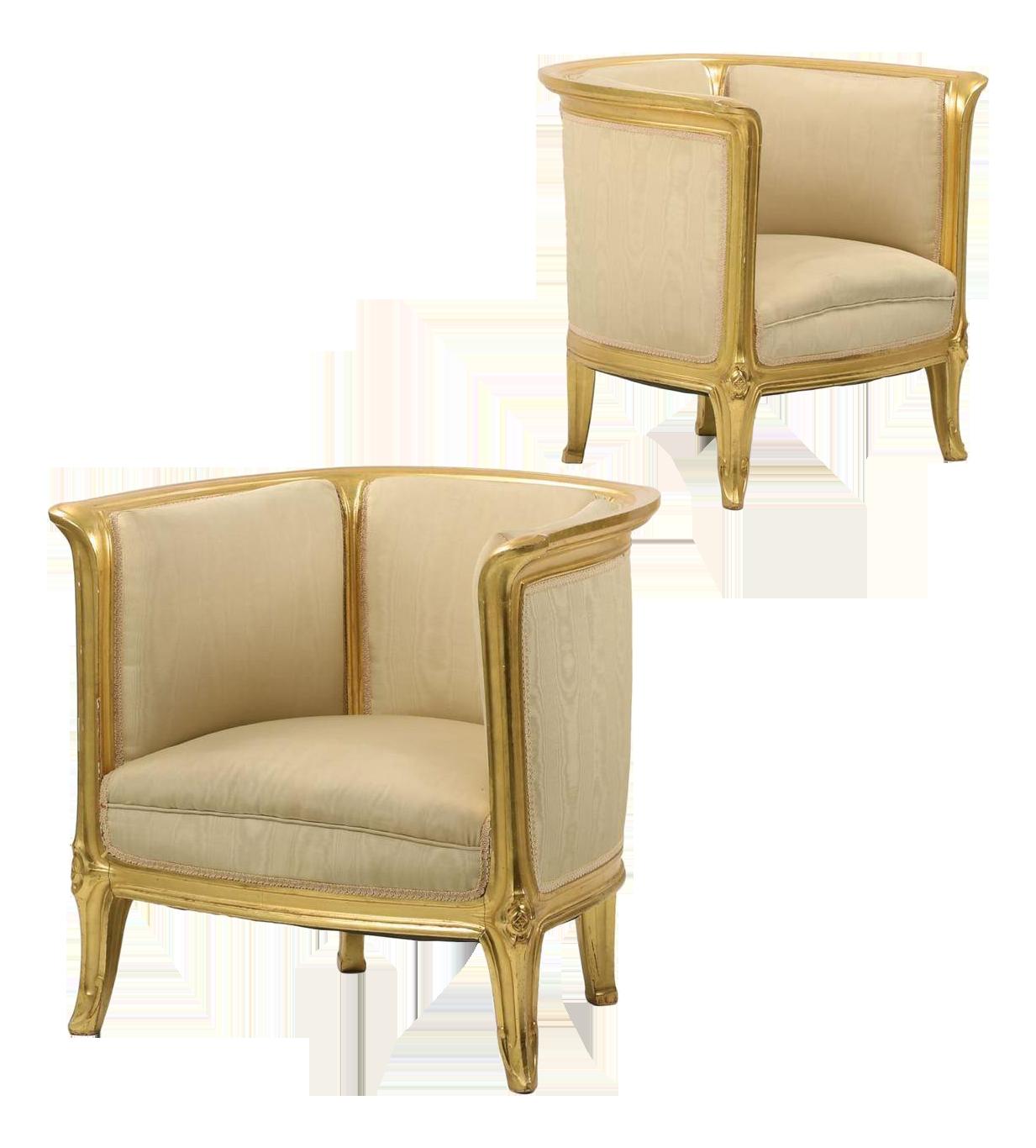 Art Nouveau Giltwood Armchairs A Pair Chairish