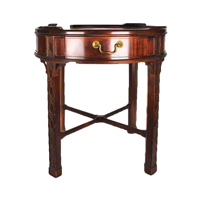 Baker Furniture Intricately Detailed Wooden Side Table