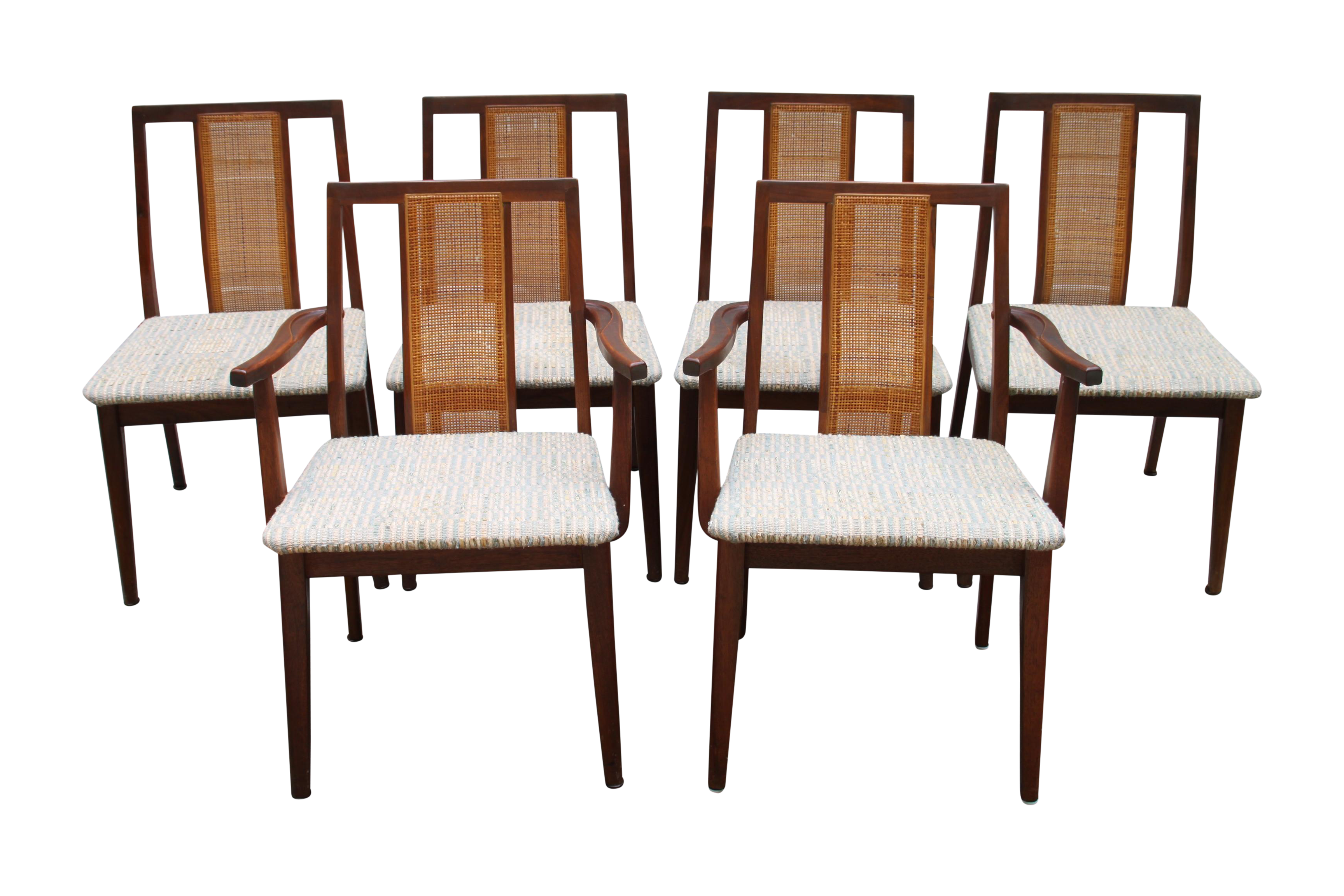 Mid Century Hibriten Cane Back Chairs Set of 6