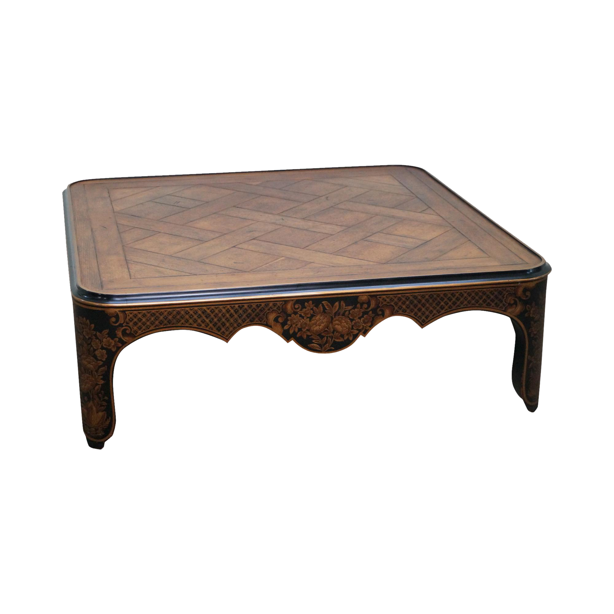 Baker Chinoiserie Painted Parquet Top Square Coffee Table