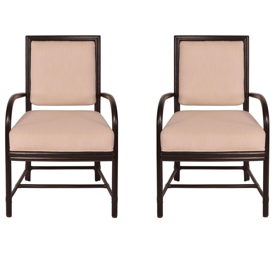 Mcguire Rattan Arm Chairs A Pair Chairish