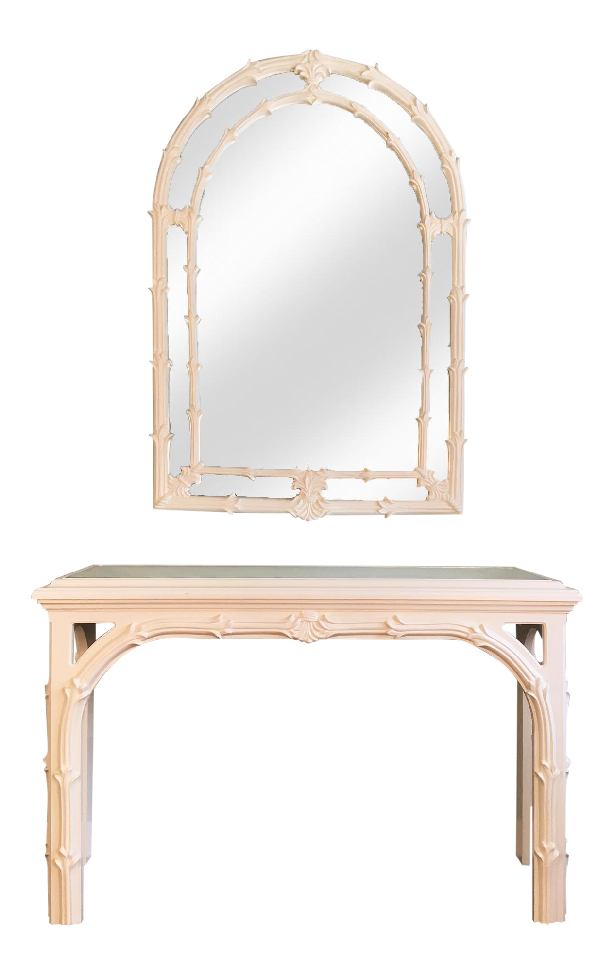 hollywood regency roche style gampel stoll console table and mirror chairish. Black Bedroom Furniture Sets. Home Design Ideas