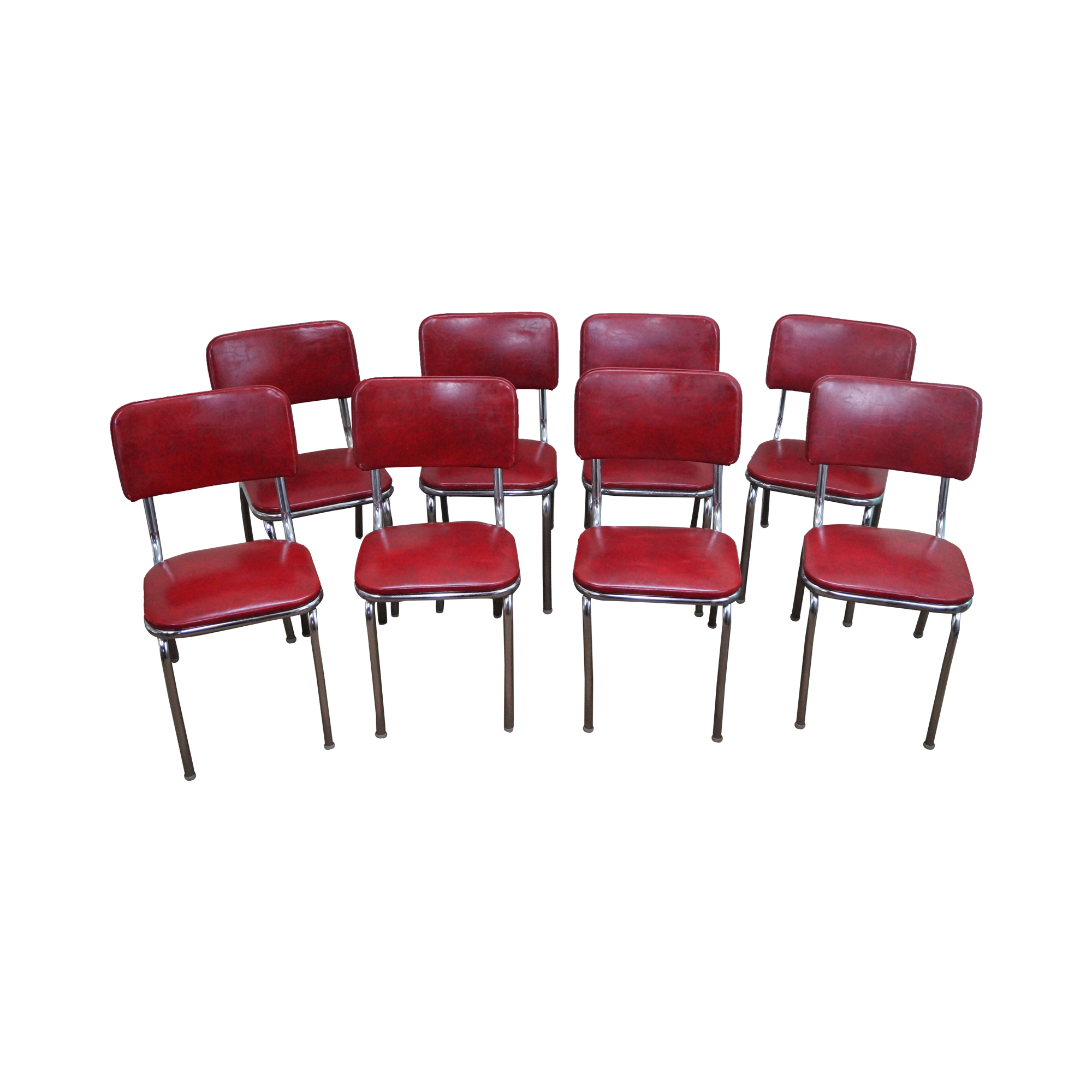 1950s Vintage Chrome & Red Vinyl Dining Chairs