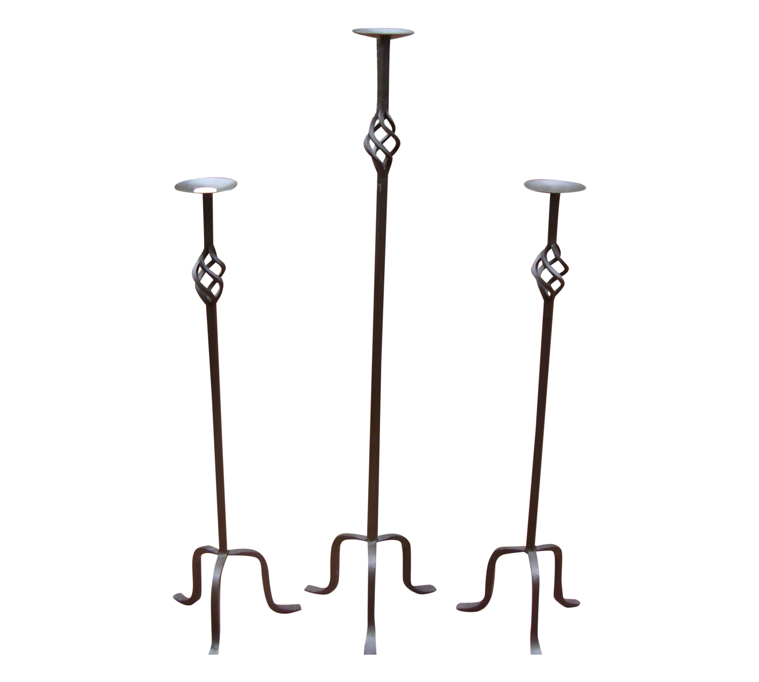 Impressive wrought iron candle holders set of 3 chairish for Kitchen cabinets lowes with black candle holder set