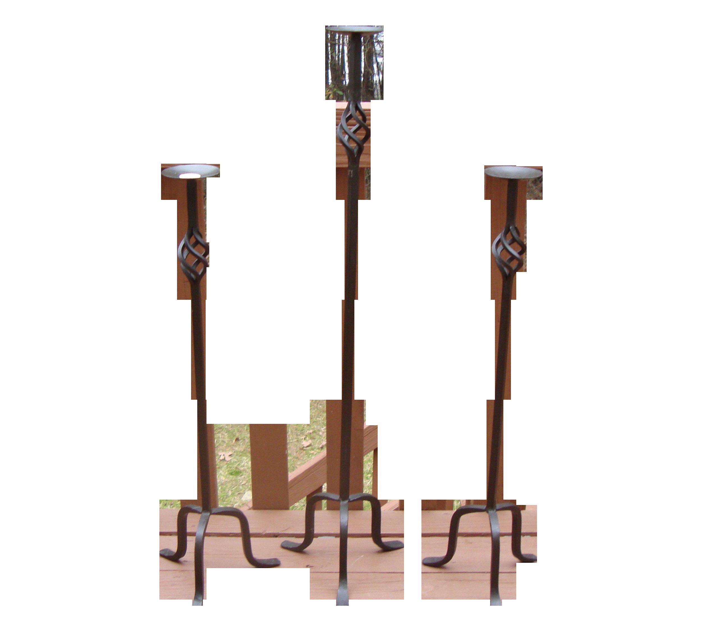 Impressive Wrought Iron Candle Holders Set Of 3 Chairish