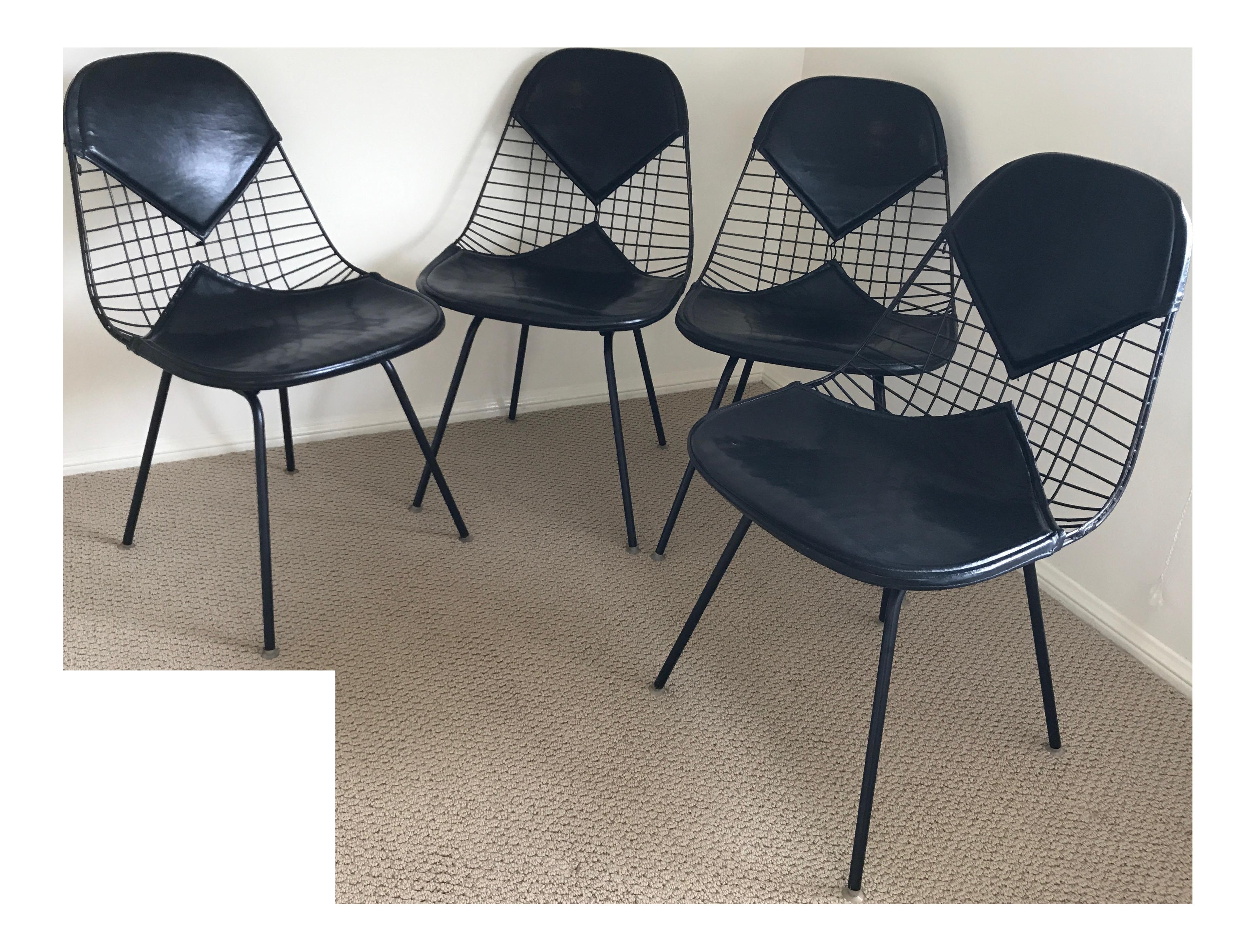 Eames for herman miller black dkr 2 bikini chairs set of for Chaise eames dkr