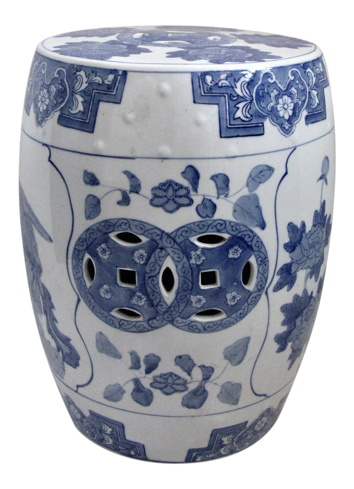 Asian Blue White Glazed Ceramic Garden Stool Chairish