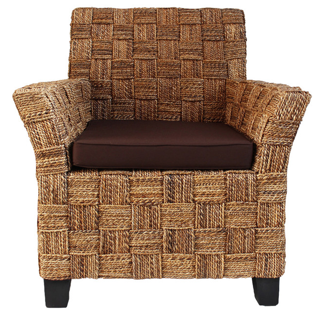 Seagrass Rope Arm Chair W Brown Cushion Chairish