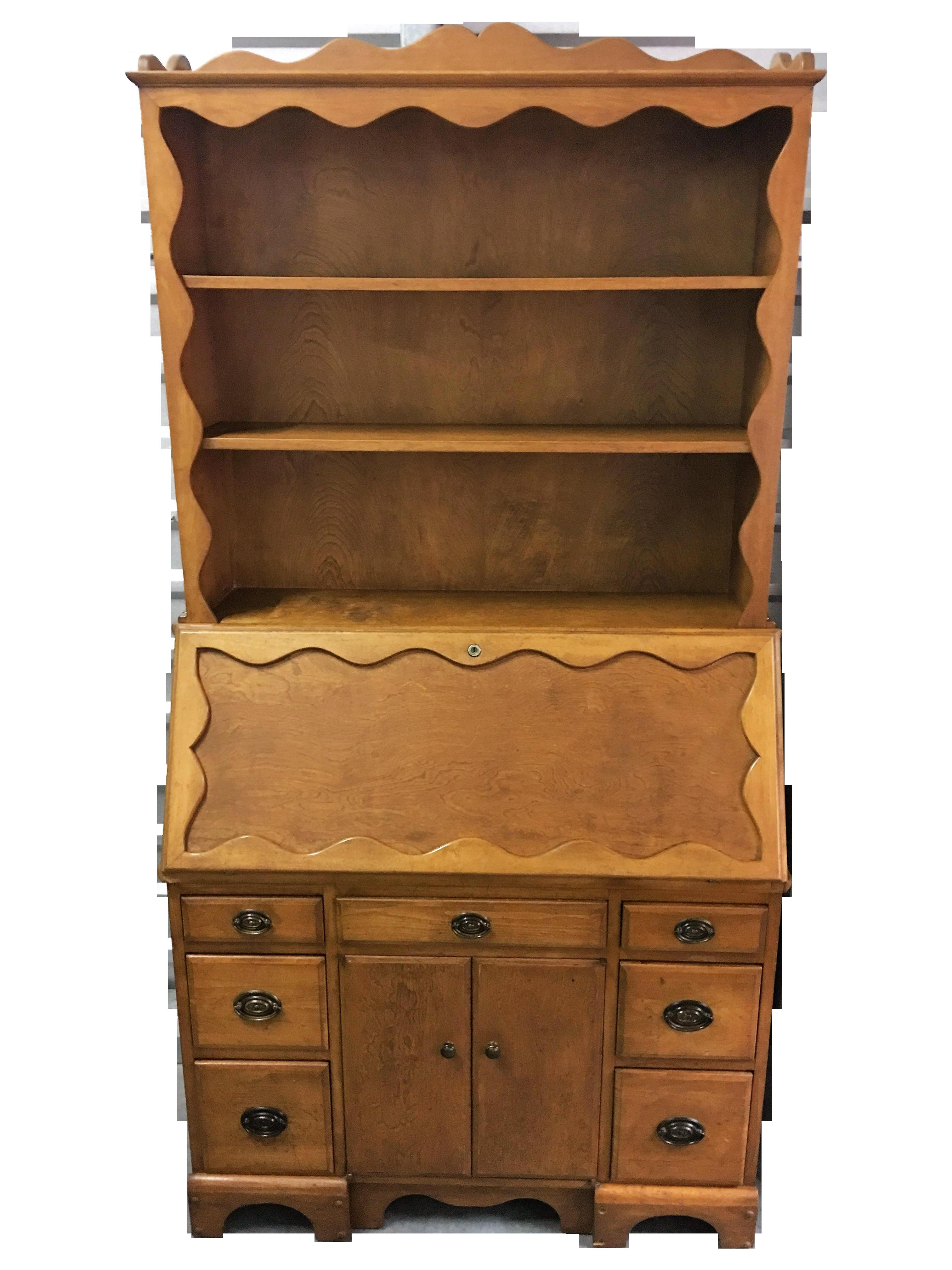 Vintage Solid Wood Secretary Desk With Hutch Chairish