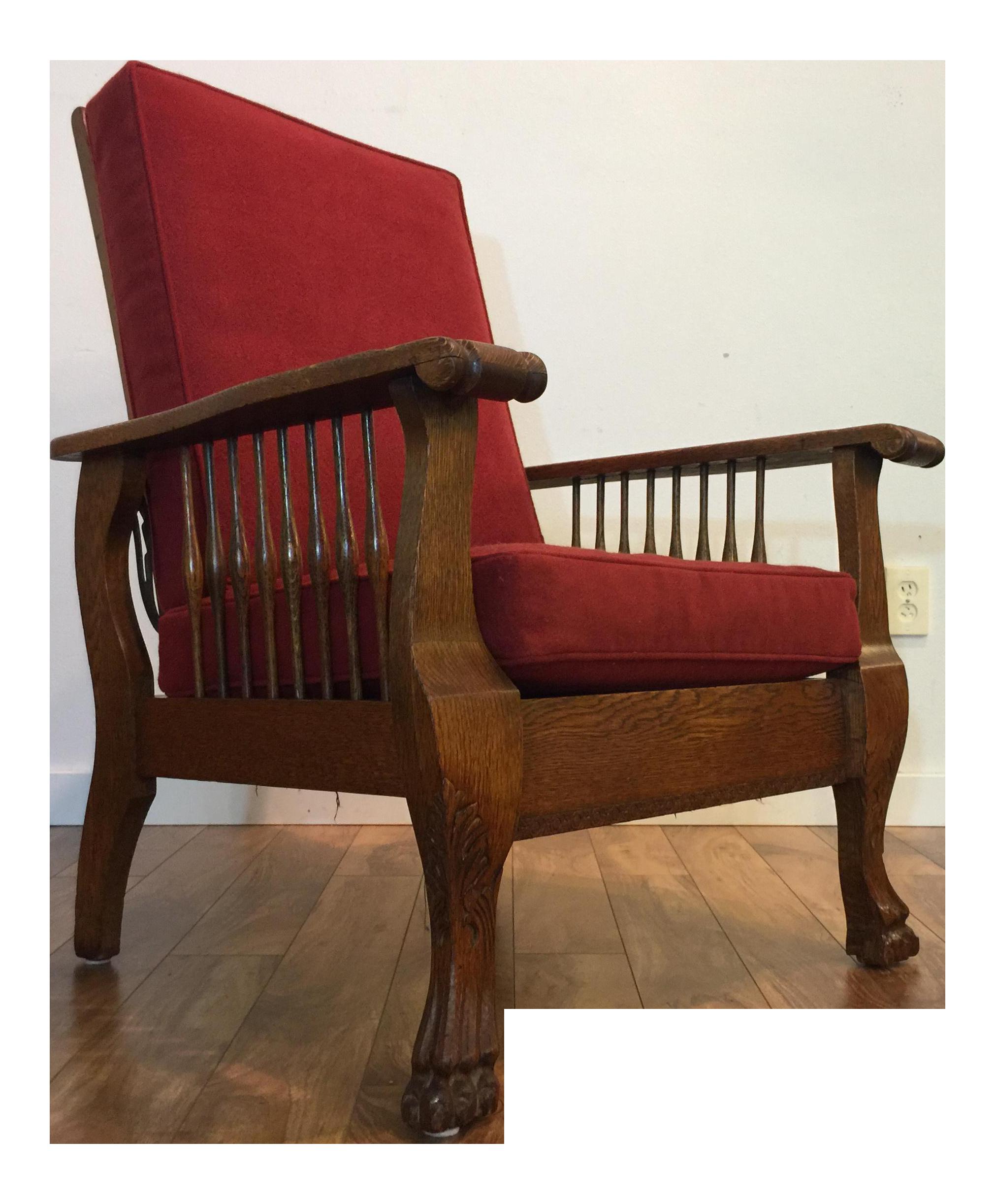 Antique morris chair - Image Of Antique Tiger Oak Morris Reclining Chair