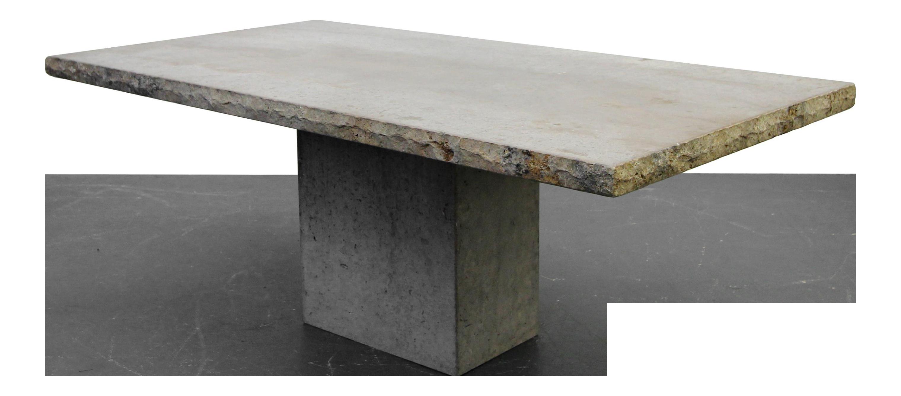 italian travertine concrete industrial pedestal dining table