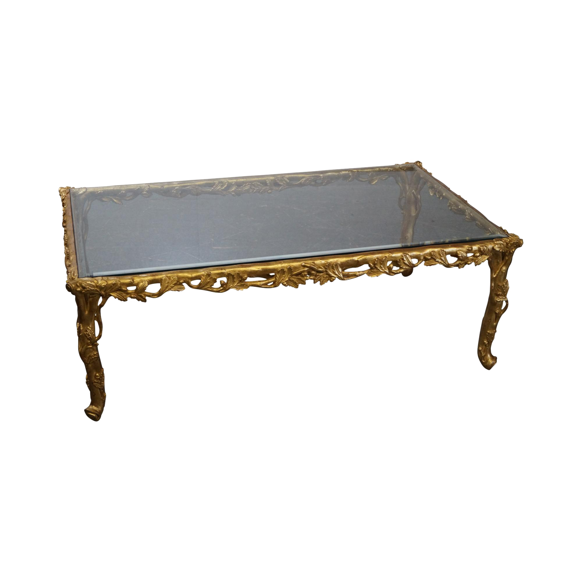 French Gilt Coffee Table: Quality French Carved Gilt Wood Faux Bois Glass Top Coffee Table