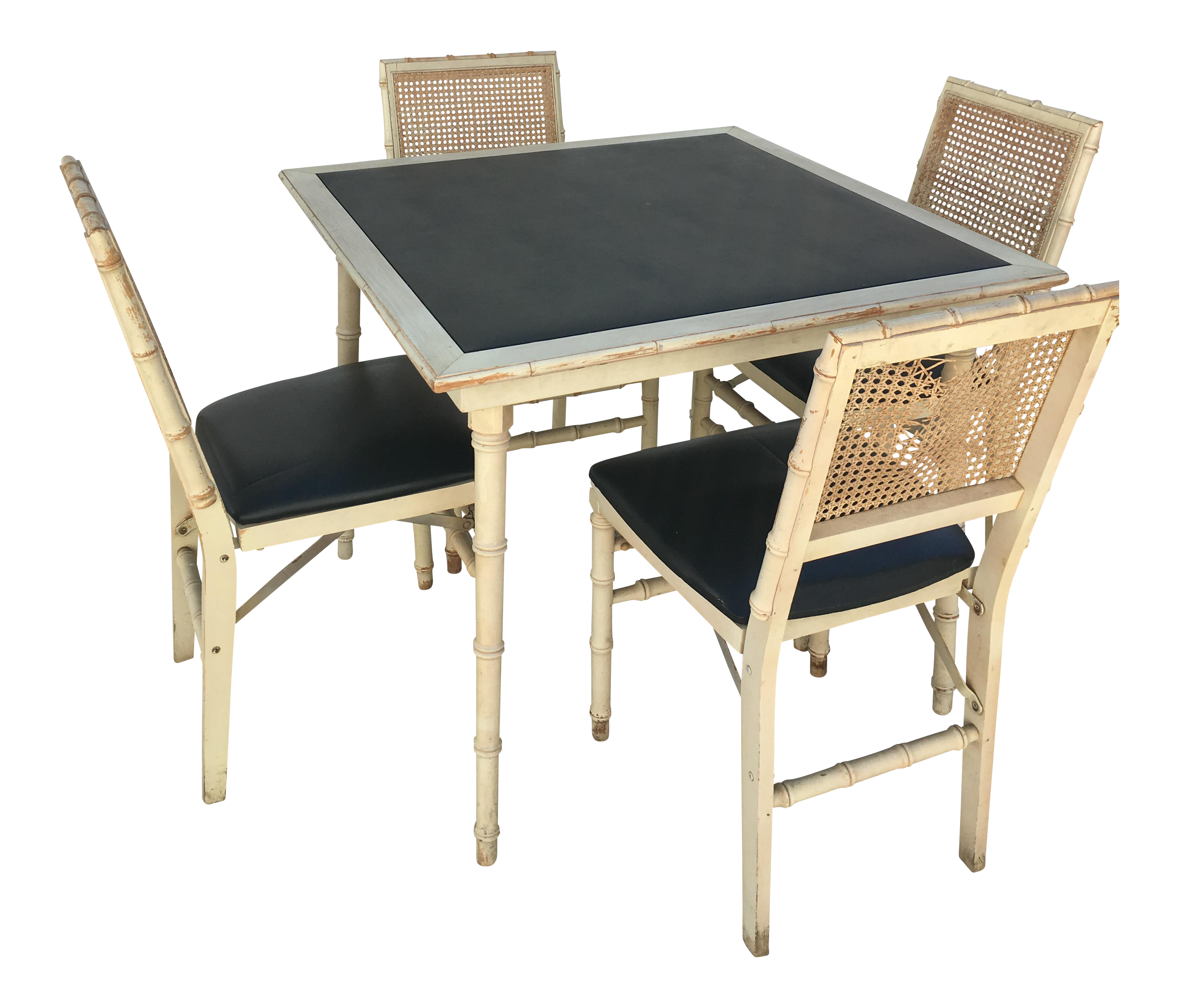 Antique game table chairs - Image Of Stakmore Faux Bamboo Foldable Vintage Game Table Chairs
