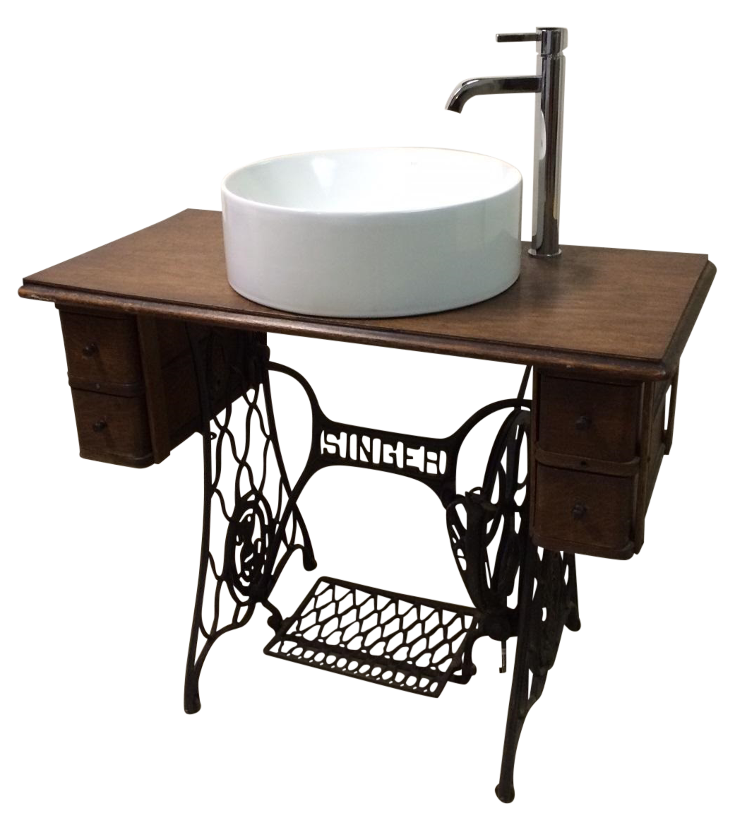 Singer sewing table converted bathroom sink vanity chairish - Table machine a coudre singer ...