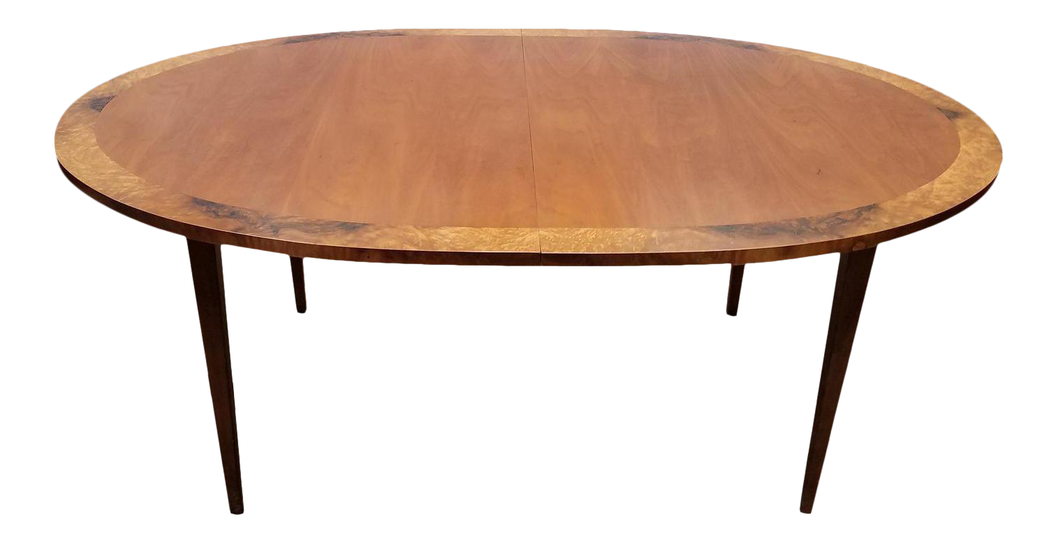 1970s Directional Contract Furniture Contemporary Banded Elm Dining Table 3 Leaves Chairish