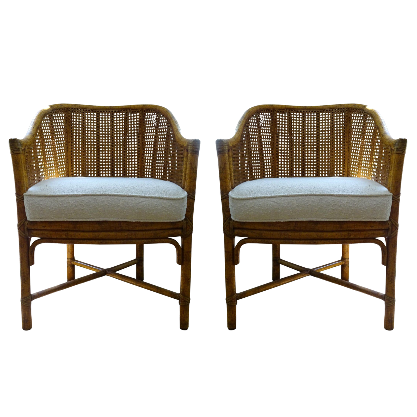 Vintage Mcguire Cane Bamboo Barrel Chairs A Pair Chairish