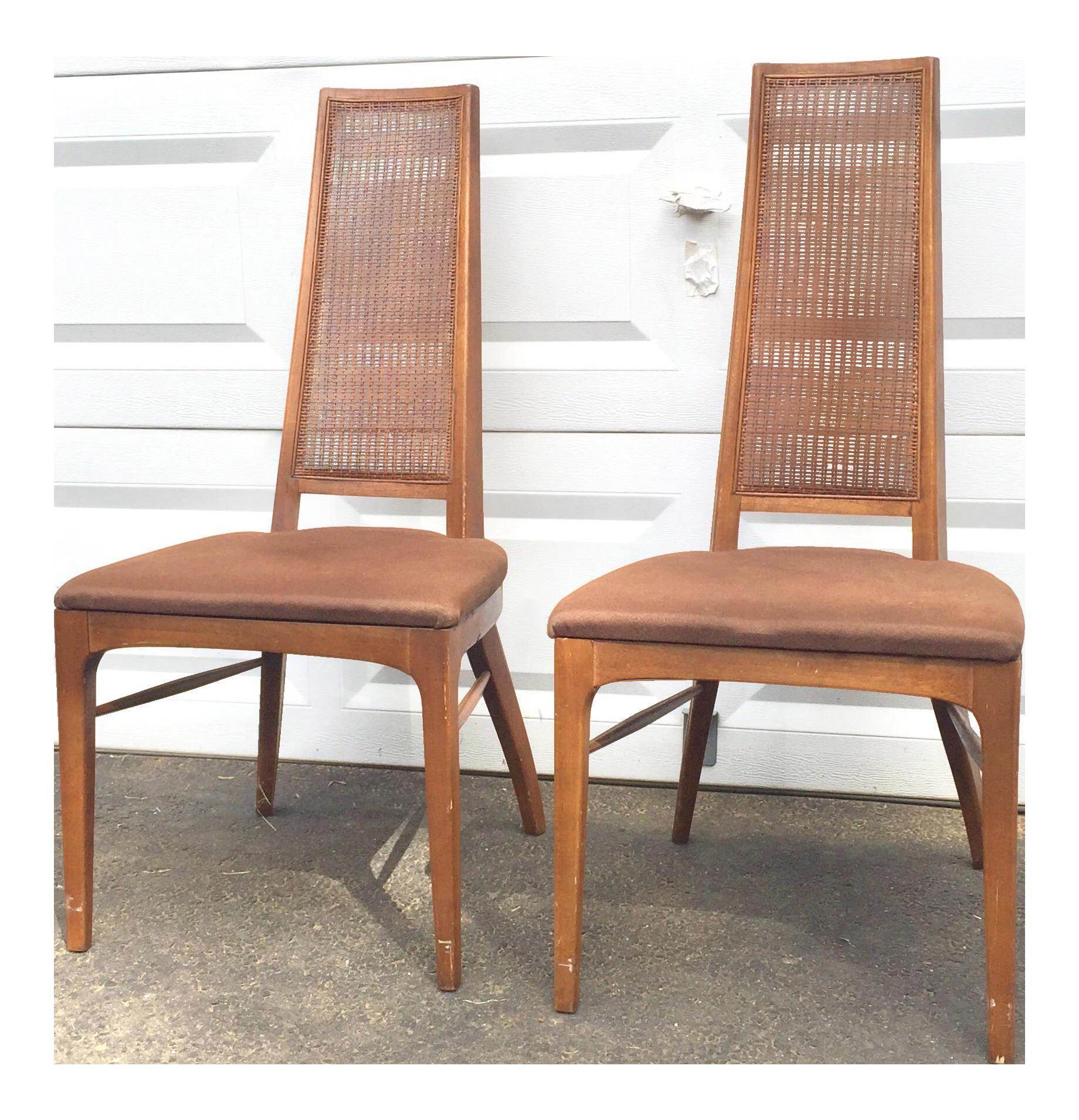 Mid century modern walnut dining chairs a pair chairish for Modern dining chairs ireland