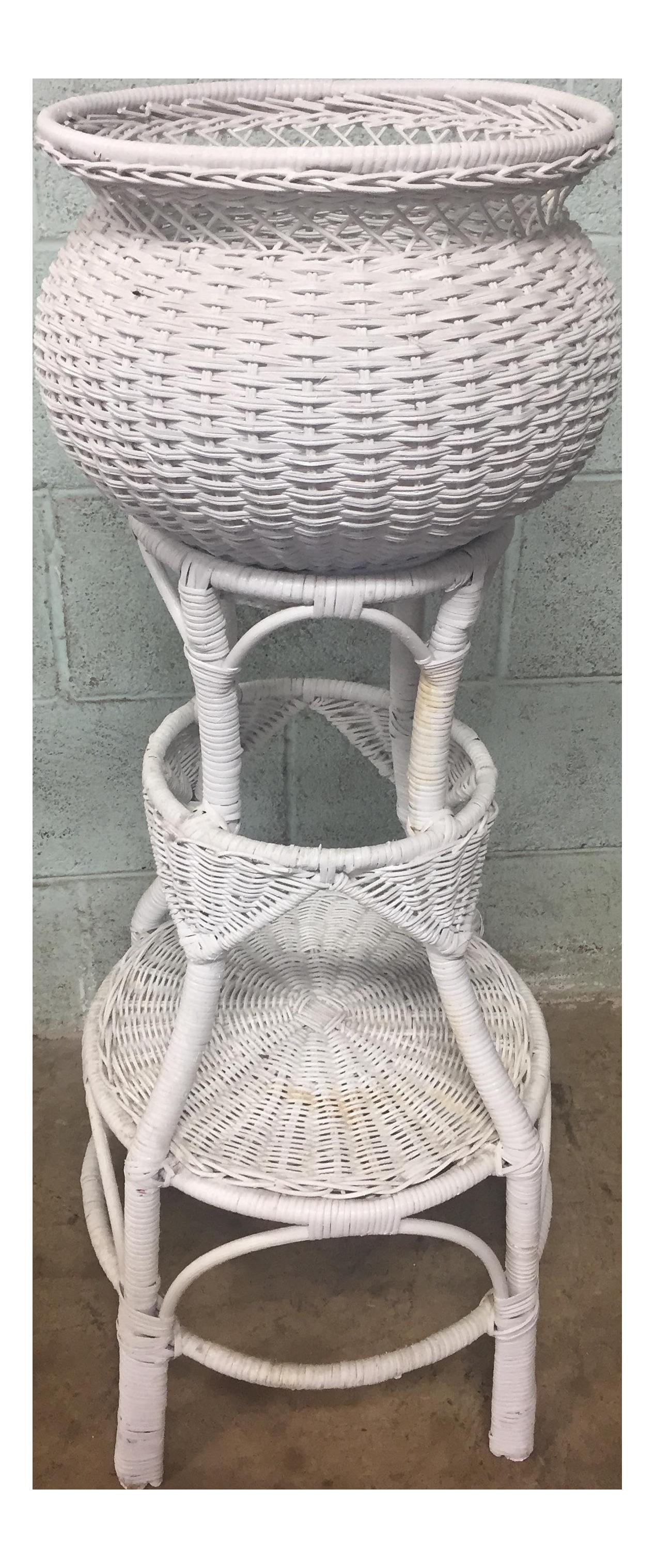 Vintage White Wicker Plant Stand Chairish