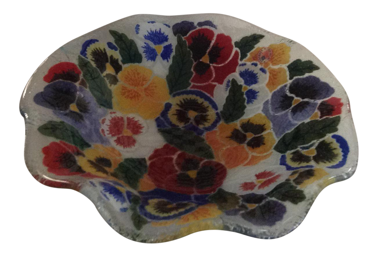 Peggy Karr Fused Glass Pansies Bowl Chairish