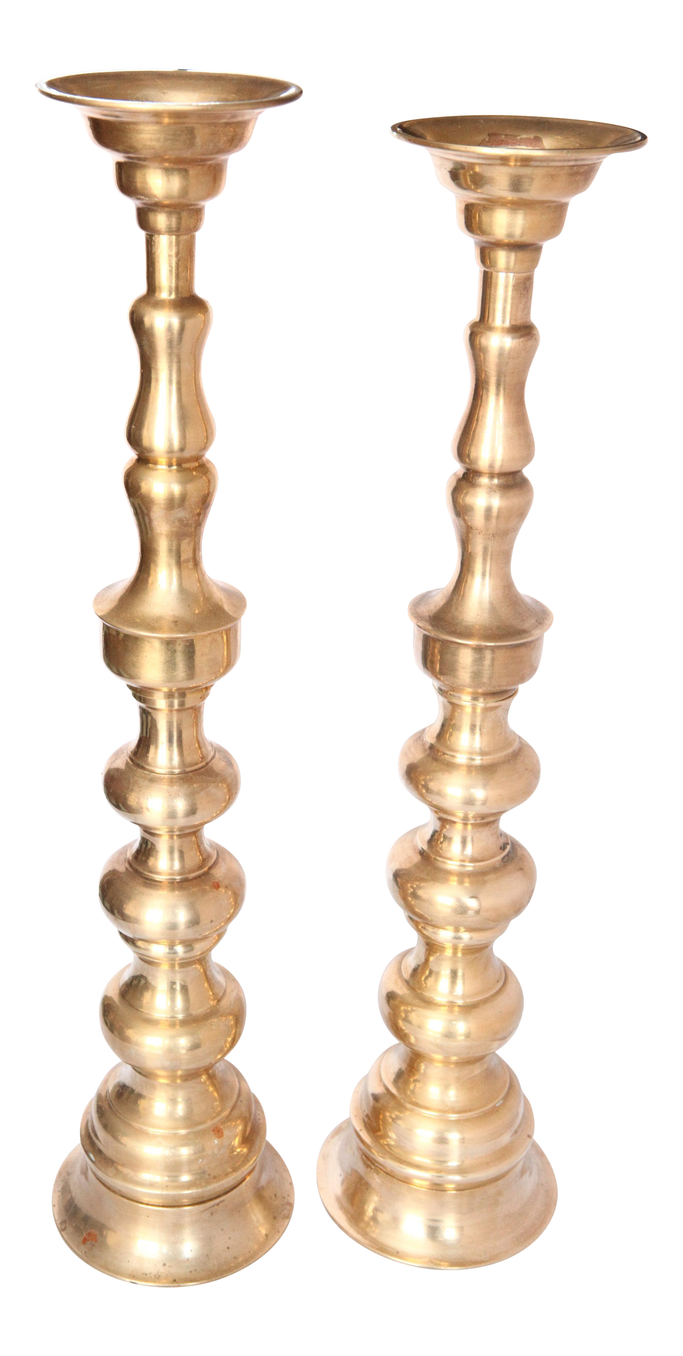 Solid Brass Oversized Fireplace Mantle Stacked Candle Holders A Pair Chairish