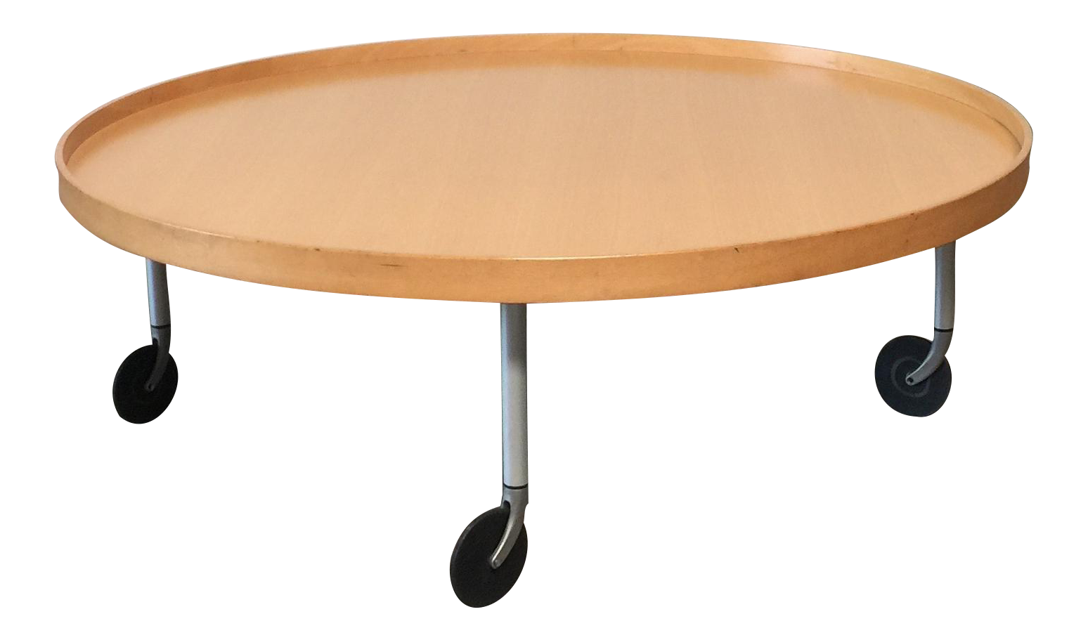 Ligne Roset Round Wooden Coffee Table With Wheels Chairish