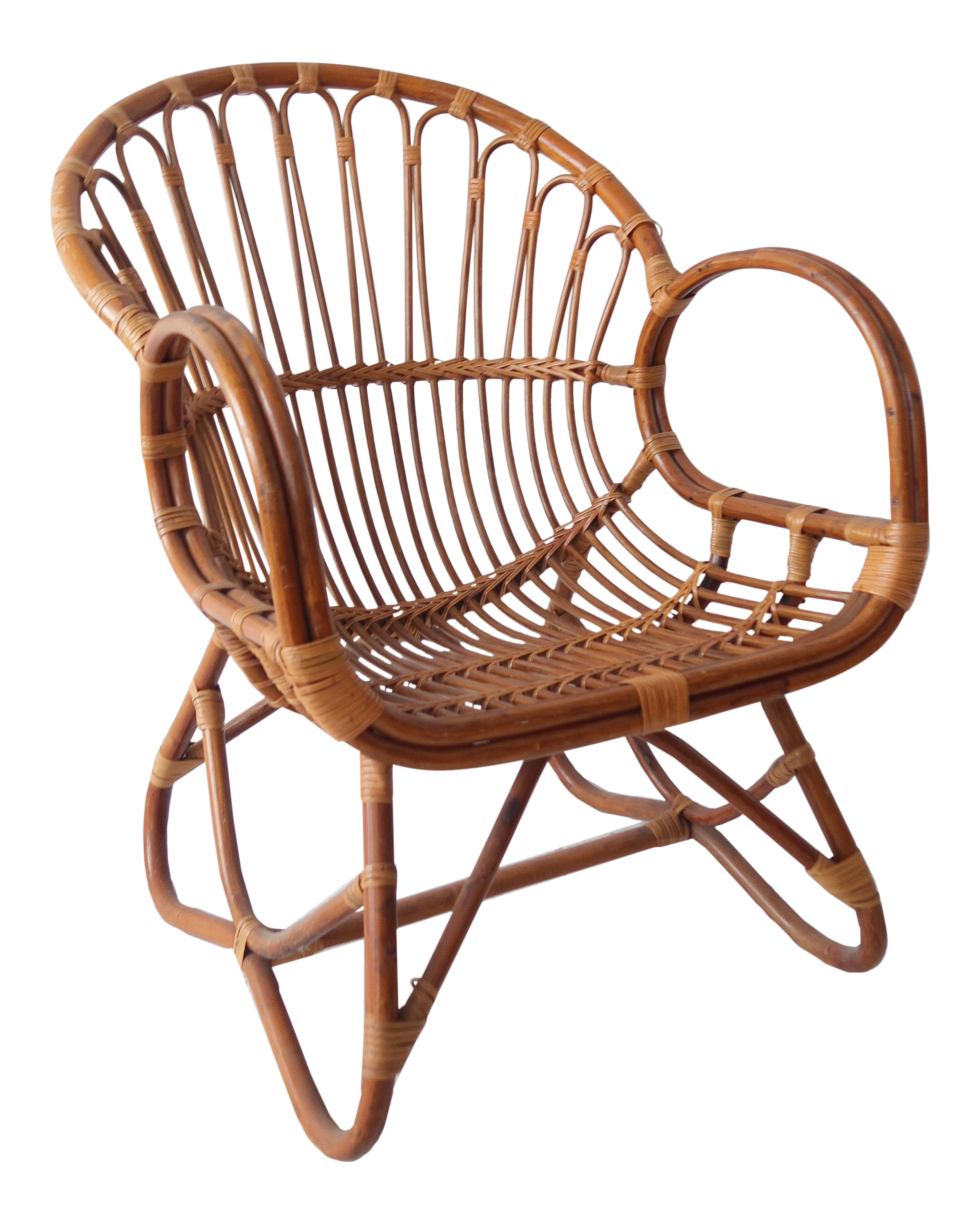 Vintage Mid Century Modern Rattan and Bamboo Chair 2 in