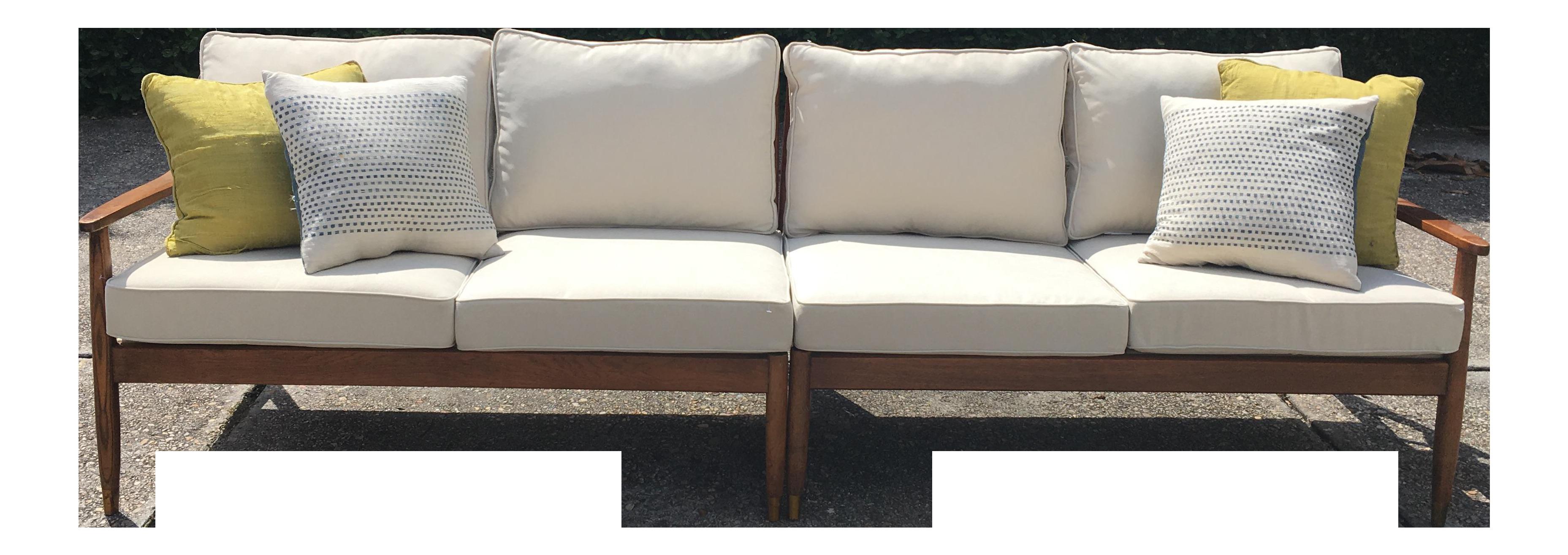 Mid Century Modern Slat Back Sectional Sofa Set