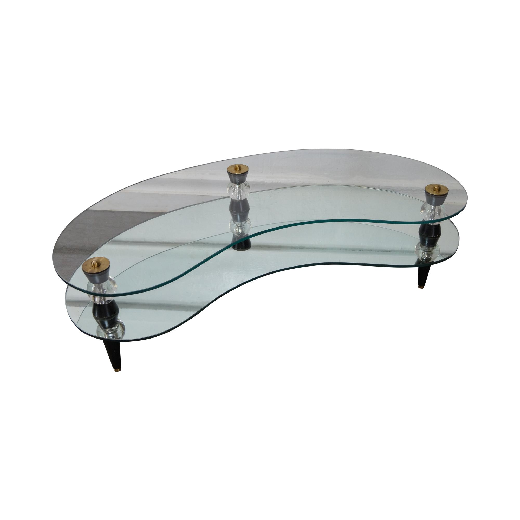 Semon bache hollywood regency kidney shaped mirrored for Bache exterieur table