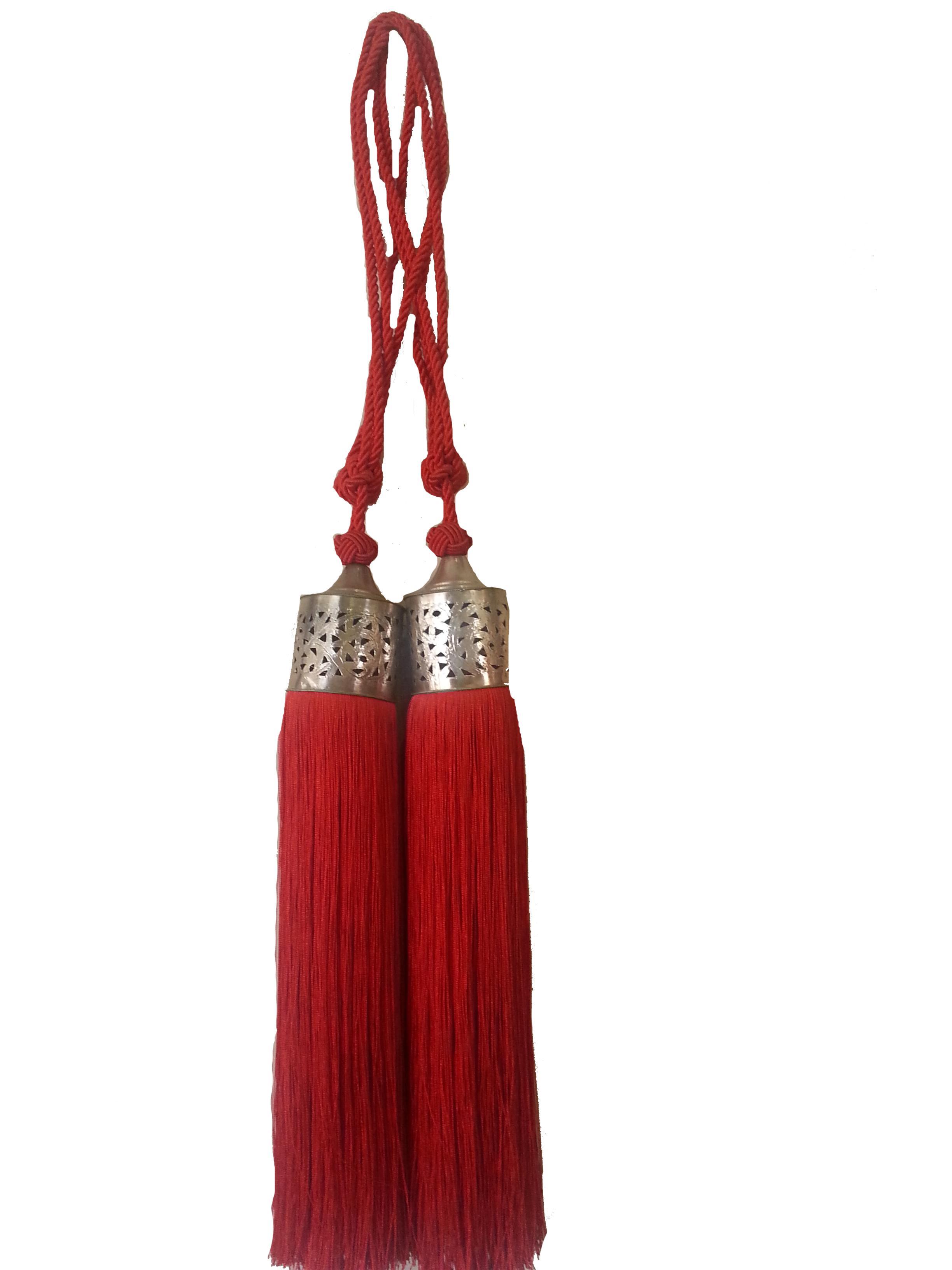 Moroccan Red Silk Tassel A Pair Chairish