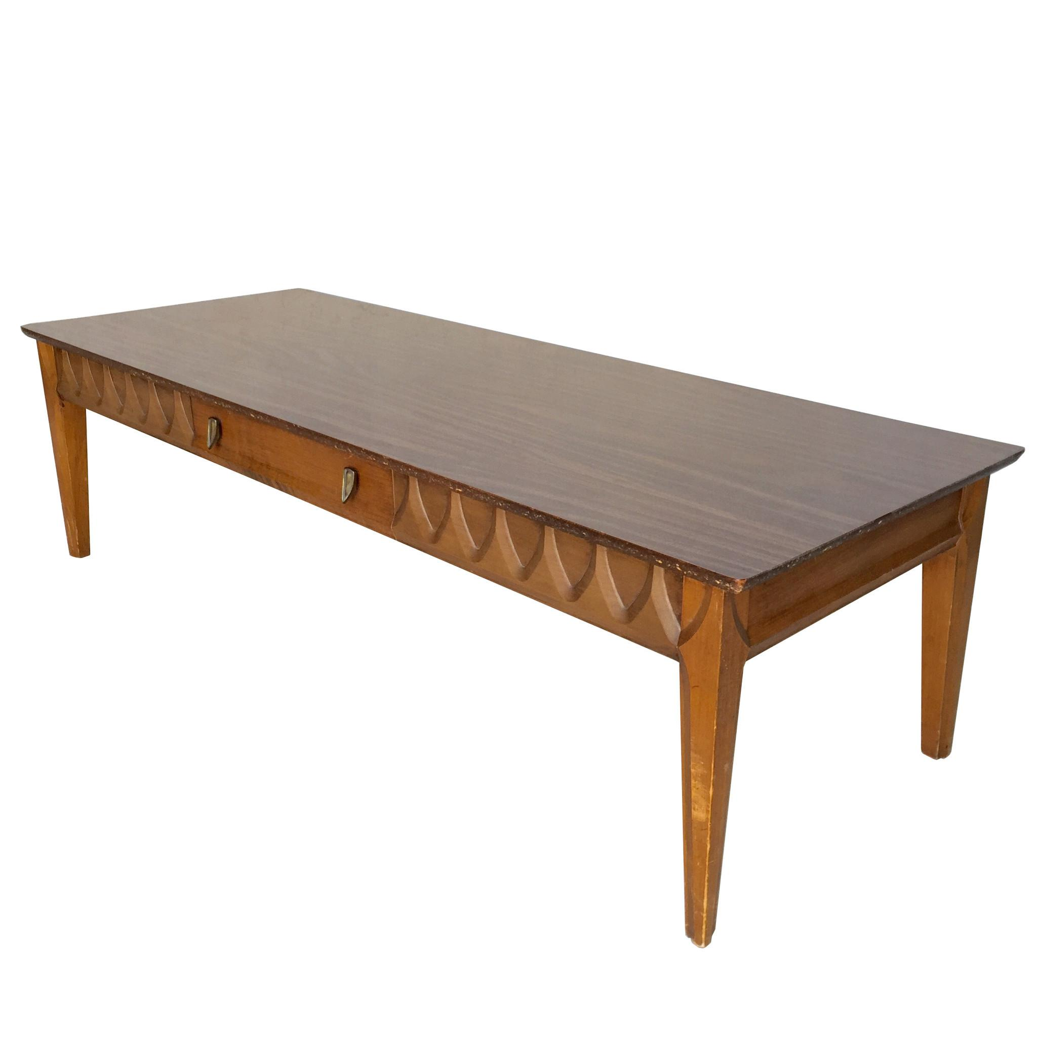 Mid Century Kent Coffey Long Walnut Coffee Table