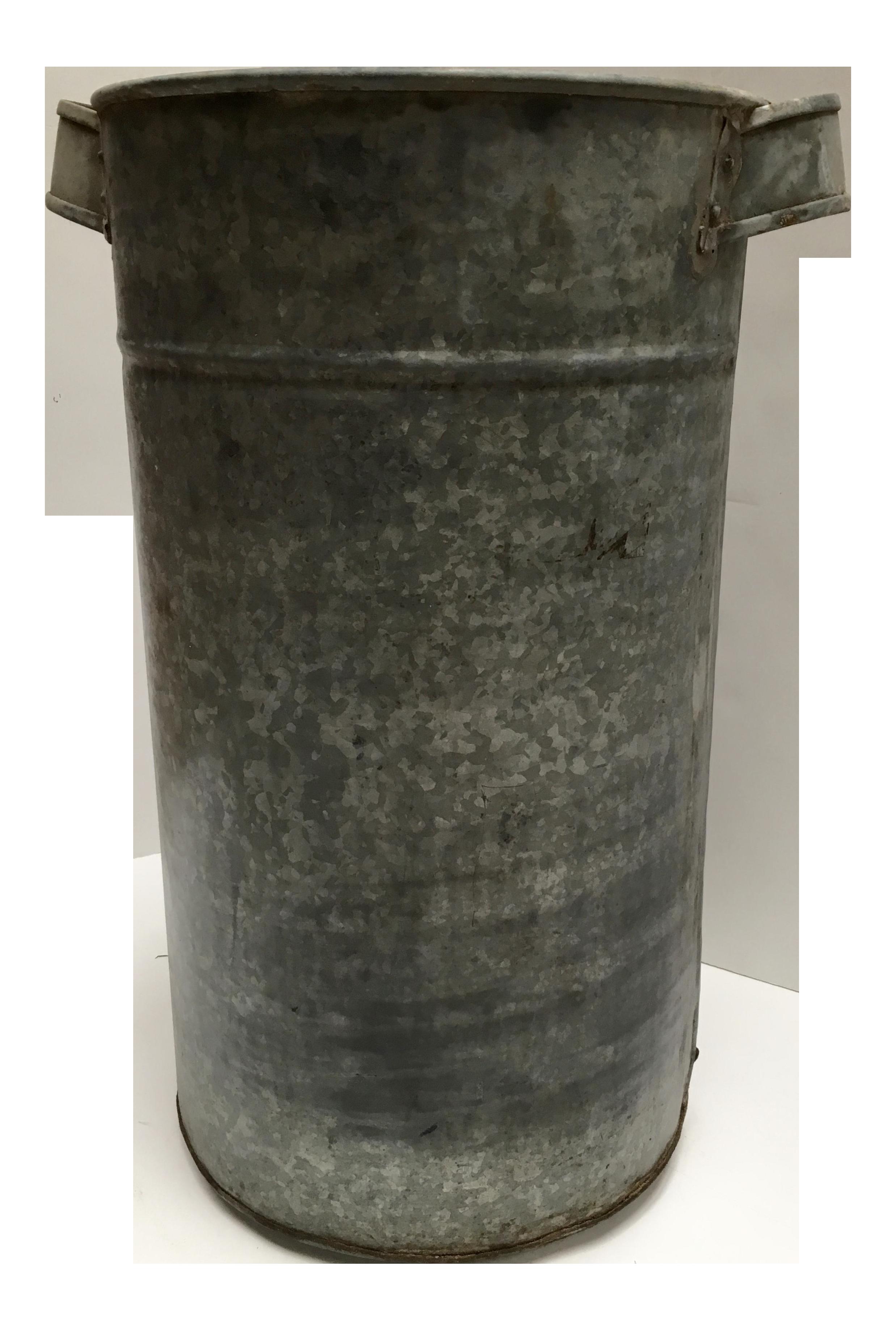 Vintage Galvanized Metal Fence Top Finial Fence Post: Vintage Round Galvanized Metal Planter