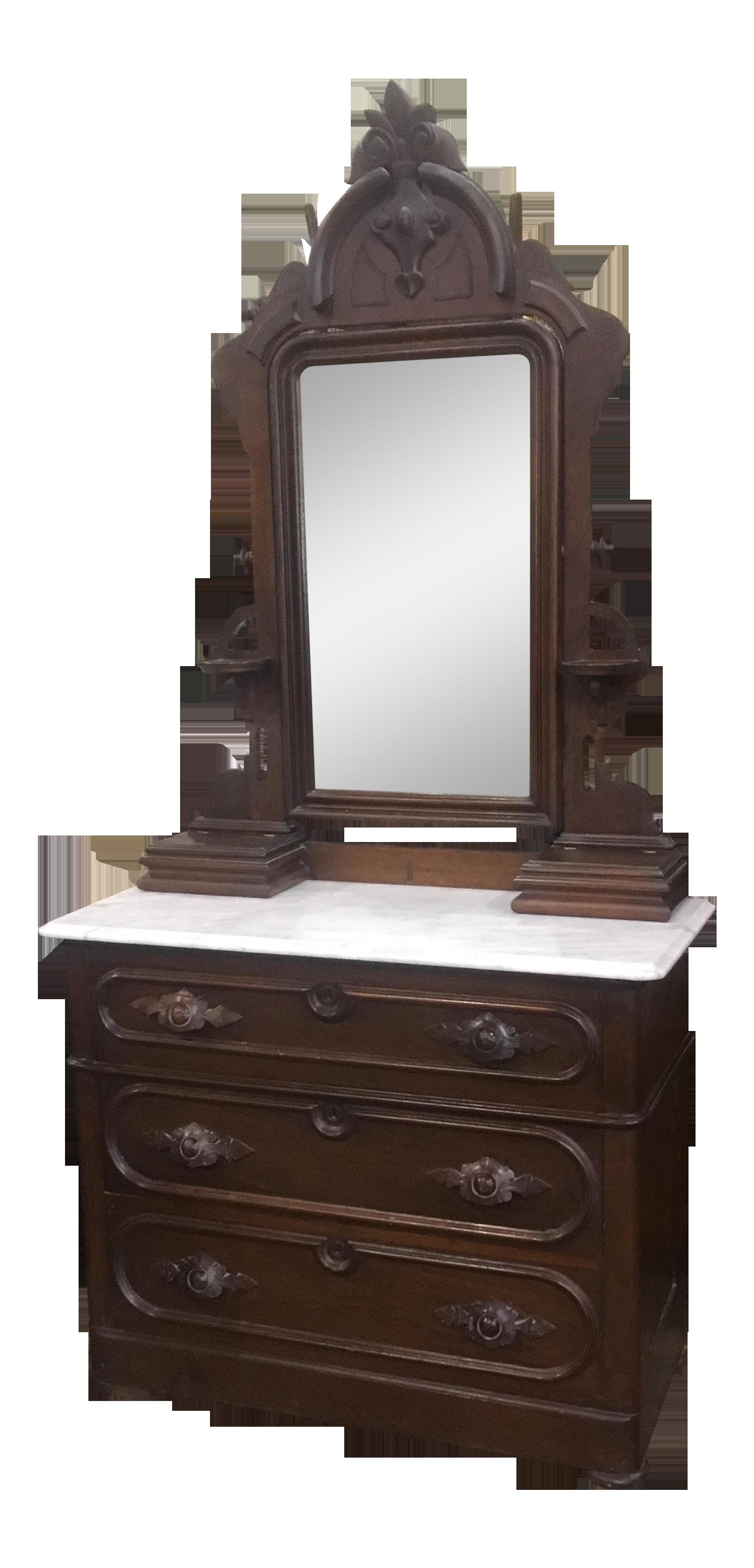 Antique Victorian Marble Top Dresser and Mirror | Chairish