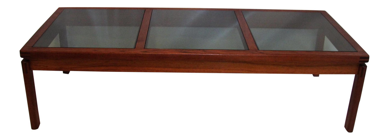 Mid Century Modern Teak & Smoked Glass Coffee Table