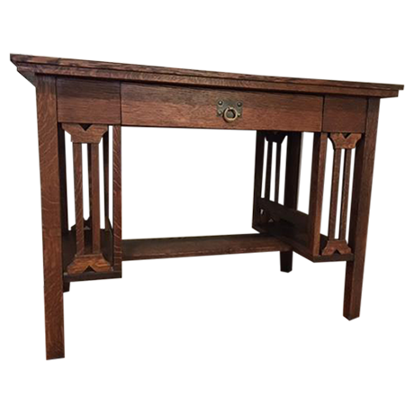 Arts and crafts mission style oak library table chairish for Arts and crafts sofa table
