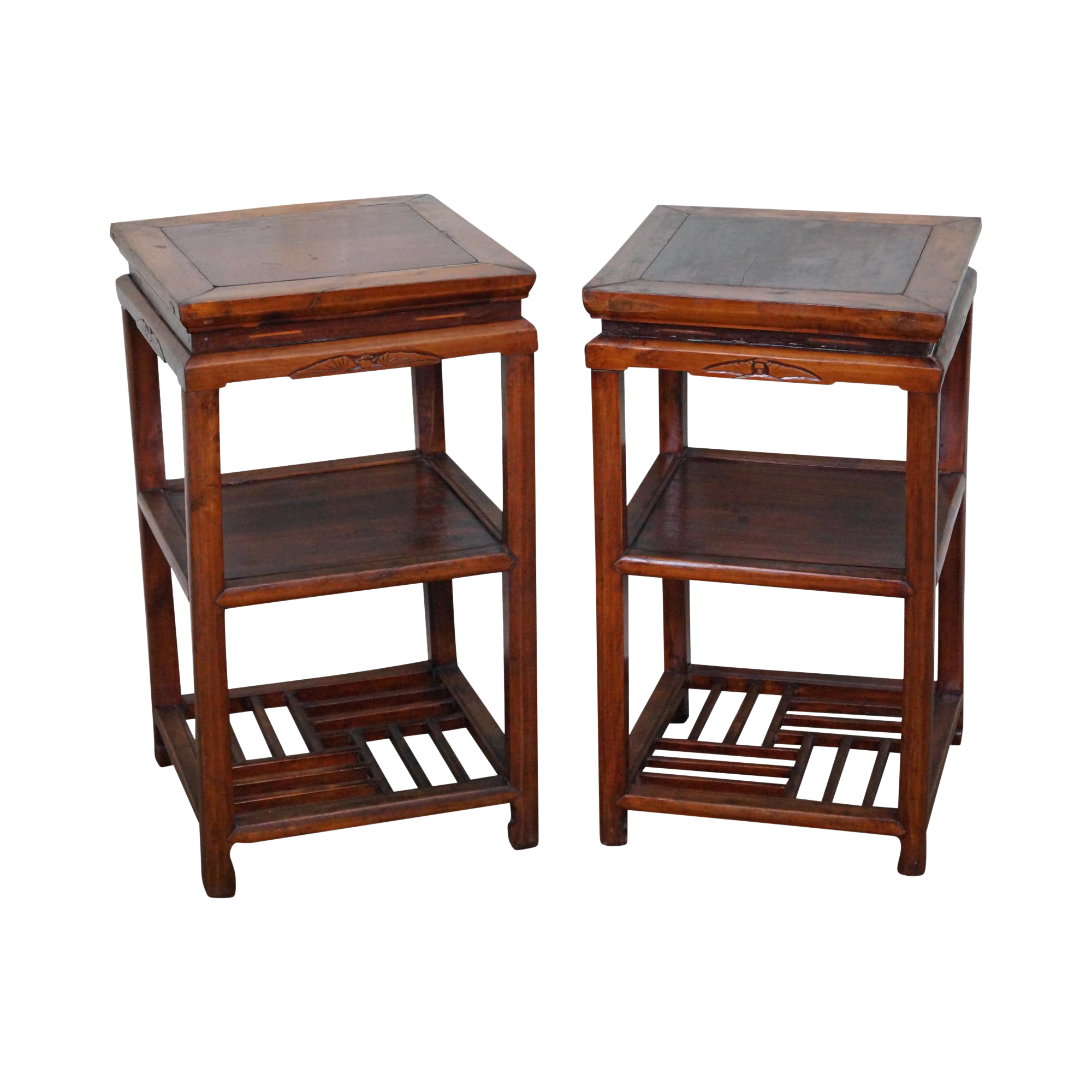 Antique square side table - Image Of Antique Chinese Elm Wood 3 Tier Square Side Tables Pair