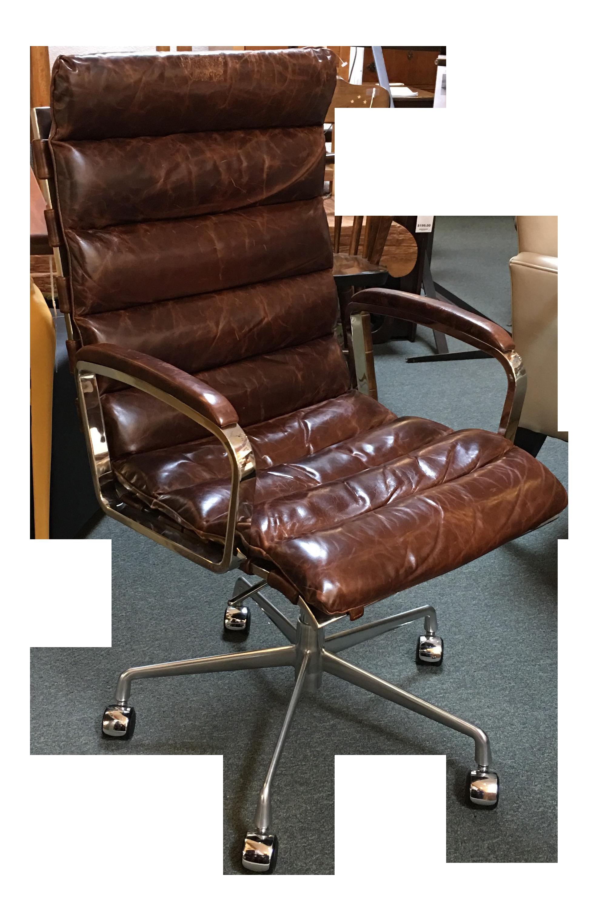 Restoration Hardware Oviedo Cocoa Leather fice Chair