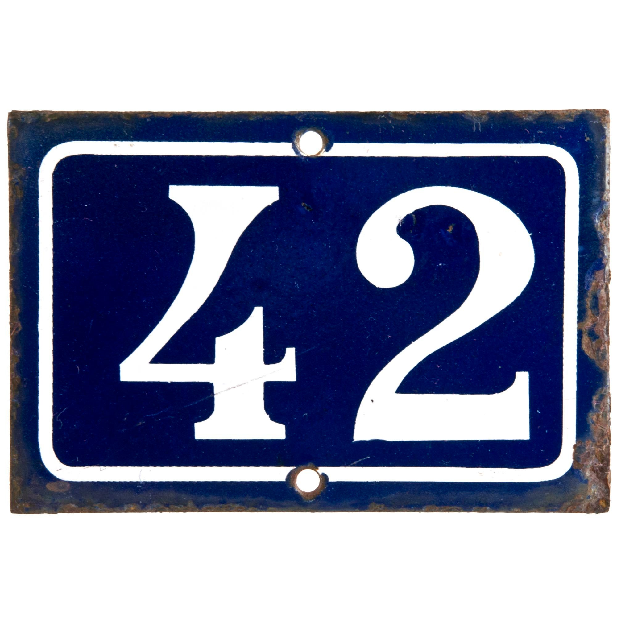 Modern Headboards French Enamel House Number 42 Chairish