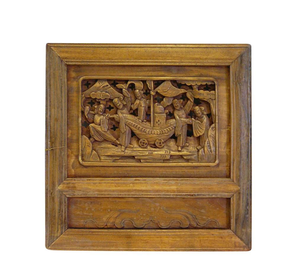 Vintage Chinese Carved Wood Wall Decor Plaque Chairish