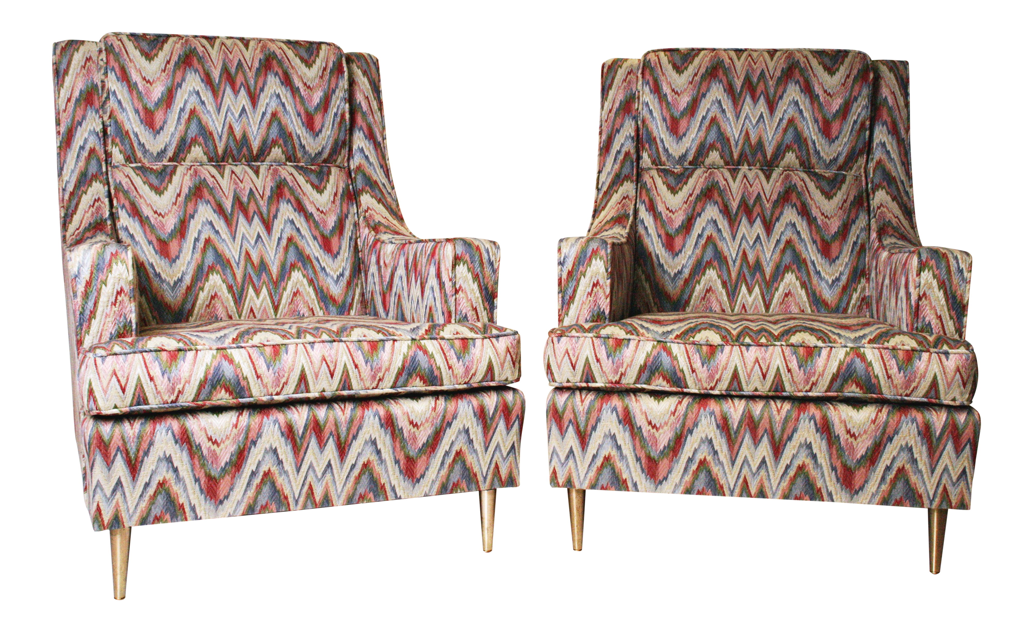 Mid Century Modern Flame Stitch Upholstered Club Chairs A Pair