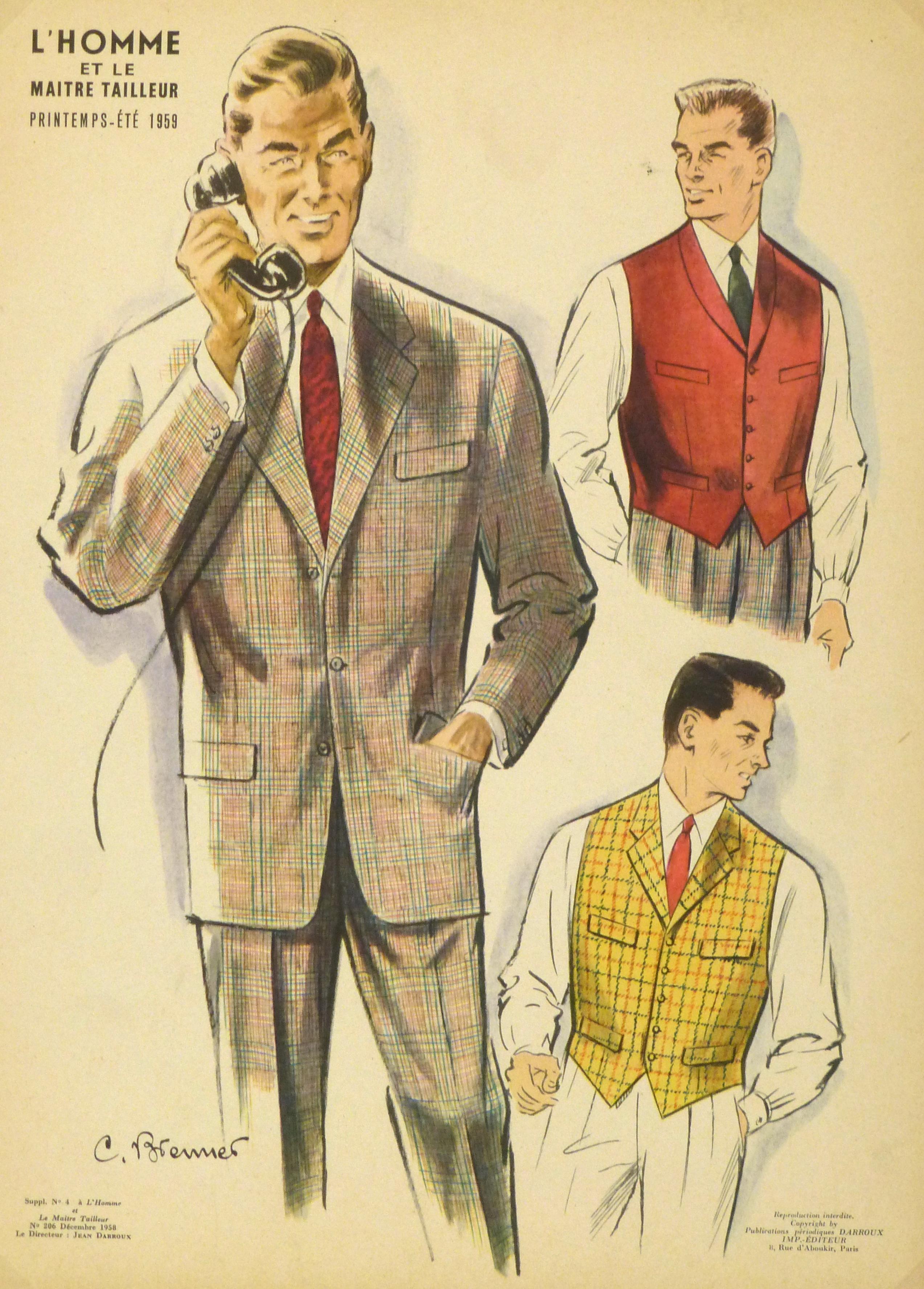 Vintage French Men S Fashion Lithograph 1958 Chairish