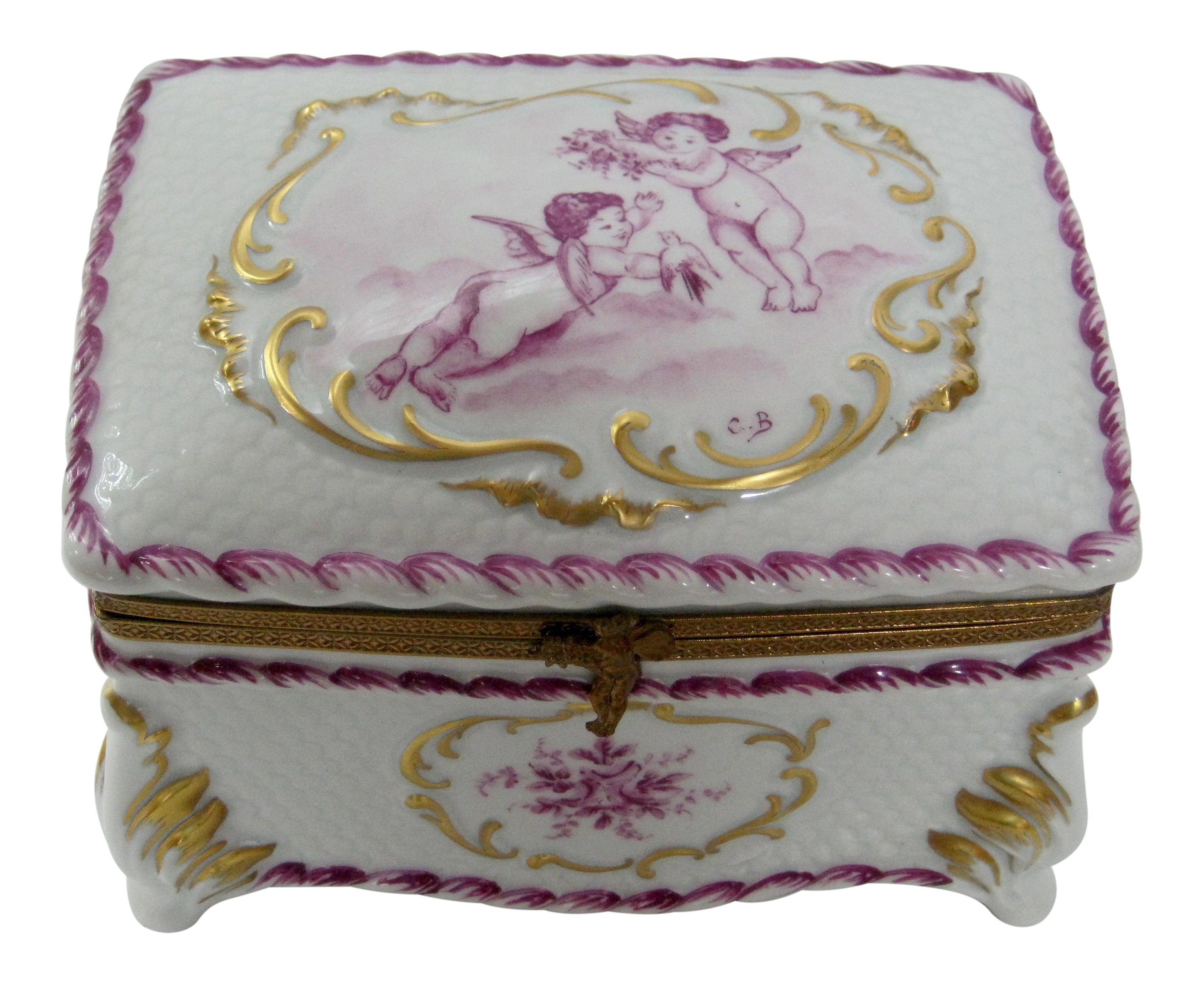 french limoges hand painted cherubs large jewelry box. Black Bedroom Furniture Sets. Home Design Ideas